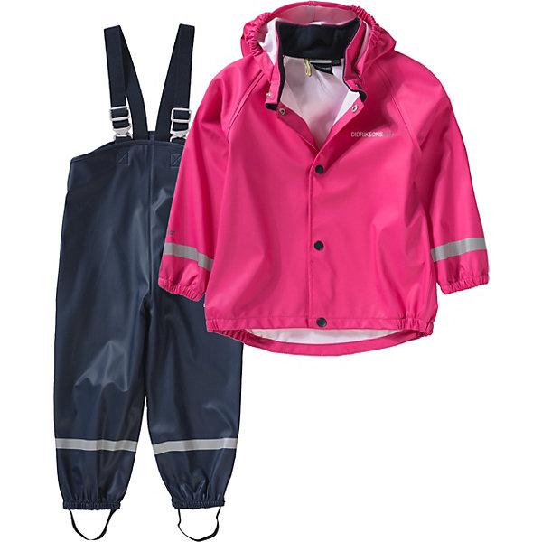 Комплект SLASKEMAN DIDRIKSONS для девочкиВерхняя одежда<br>Характеристики товара:<br><br>• цвет: фуксия<br>• комплектация: куртка, полукомбинезон<br>• состав ткани: 100% полиуретан<br>• подкладка: 100% полиэстер (трикотаж)<br>• утеплитель: нет<br>• сезон: демисезон<br>• температурный режим: от +5 до +15<br>• влагонепроницаемость: 8000 мм <br>• все швы пропаяны<br>• непродуваемый<br>• капюшон: без меха, съемный<br>• штрипки<br>• застежка: кнопки<br>• манжеты на резинке<br>• фиксированные подтяжки<br>• страна бренда: Швеция<br>• страна изготовитель: Китай<br><br>Яркий комплект для ребенка отличается продуманным дизайном. Непромокаемый и непродуваемый верх детского комплекта усилен пропаянными швами. Стильный комплект для дождливой погоды дополнен штрипками. Плотный верх детской куртки и полукомбинезона не промокает и не продувается, его легко чистить. <br><br>Комплект для девочки Slaskeman Didriksons (Дидриксонс) можно купить в нашем интернет-магазине.<br>Ширина мм: 356; Глубина мм: 10; Высота мм: 245; Вес г: 519; Цвет: фуксия; Возраст от месяцев: 108; Возраст до месяцев: 120; Пол: Женский; Возраст: Детский; Размер: 120,130,140,80,90,100,110; SKU: 7044751;