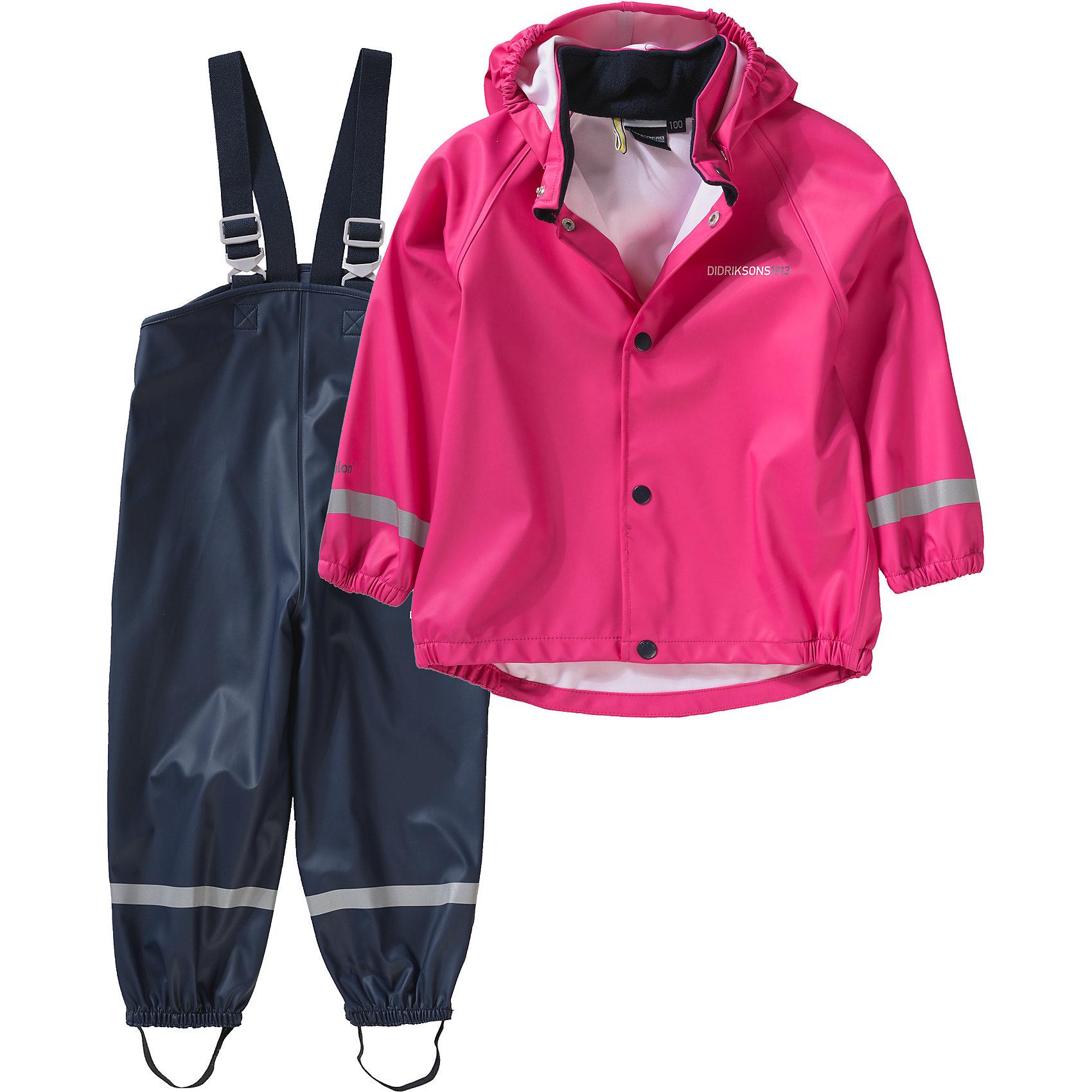 Комплект SLASKEMAN DIDRIKSONS для девочкиВерхняя одежда<br>Характеристики товара:<br><br>• цвет: фуксия<br>• комплектация: куртка, полукомбинезон<br>• состав ткани: 100% полиуретан<br>• подкладка: 100% полиэстер (трикотаж)<br>• утеплитель: нет<br>• сезон: демисезон<br>• температурный режим: от +5 до +15<br>• влагонепроницаемость: 8000 мм <br>• все швы пропаяны<br>• непродуваемый<br>• капюшон: без меха, съемный<br>• штрипки<br>• застежка: кнопки<br>• манжеты на резинке<br>• фиксированные подтяжки<br>• страна бренда: Швеция<br>• страна изготовитель: Китай<br><br>Яркий комплект для ребенка отличается продуманным дизайном. Непромокаемый и непродуваемый верх детского комплекта усилен пропаянными швами. Стильный комплект для дождливой погоды дополнен штрипками. Плотный верх детской куртки и полукомбинезона не промокает и не продувается, его легко чистить. <br><br>Комплект для девочки Slaskeman Didriksons (Дидриксонс) можно купить в нашем интернет-магазине.<br><br>Ширина мм: 356<br>Глубина мм: 10<br>Высота мм: 245<br>Вес г: 519<br>Цвет: розовый<br>Возраст от месяцев: 108<br>Возраст до месяцев: 120<br>Пол: Женский<br>Возраст: Детский<br>Размер: 140,80,90,100,110,120,130<br>SKU: 7044751