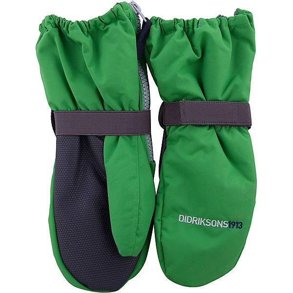 Варежки BIGGLES ZIP DIDRIKSONSПерчатки, варежки<br>Характеристики товара:<br><br>• цвет: зеленый<br>• состав ткани: 100% полиамид<br>• подкладка: 100% полиэстер (флис)<br>• утеплитель: 100% полиэстер<br>• сезон: зима<br>• мембранная<br>• температурный режим: от -20 до 0<br>• утеплитель: 60 г/м<br>• влагонепроницаемость: 1000 мм <br>• непродуваемые<br>• застежка: молния, резинка<br>• страна бренда: Швеция<br>• страна изготовитель: Китай<br><br>Непромокаемый плотный материал этих детских варежек обеспечит защиту от холода и влаги. Прочные теплые варежки плотно держатся на руке благодаря удобной резинке. Эти непромокаемые варежки для ребенка отличаются модным дизайном. Простые в уходе варежки сделаны из легкого износостойкого материала. <br><br>Варежки Biggles Zip Didriksons (Дидриксонс) можно купить в нашем интернет-магазине.<br><br>Ширина мм: 162<br>Глубина мм: 171<br>Высота мм: 55<br>Вес г: 119<br>Цвет: зеленый<br>Возраст от месяцев: 12<br>Возраст до месяцев: 24<br>Пол: Унисекс<br>Возраст: Детский<br>Размер: 0/2,2/4,4/6,6/8,8/10<br>SKU: 7044966