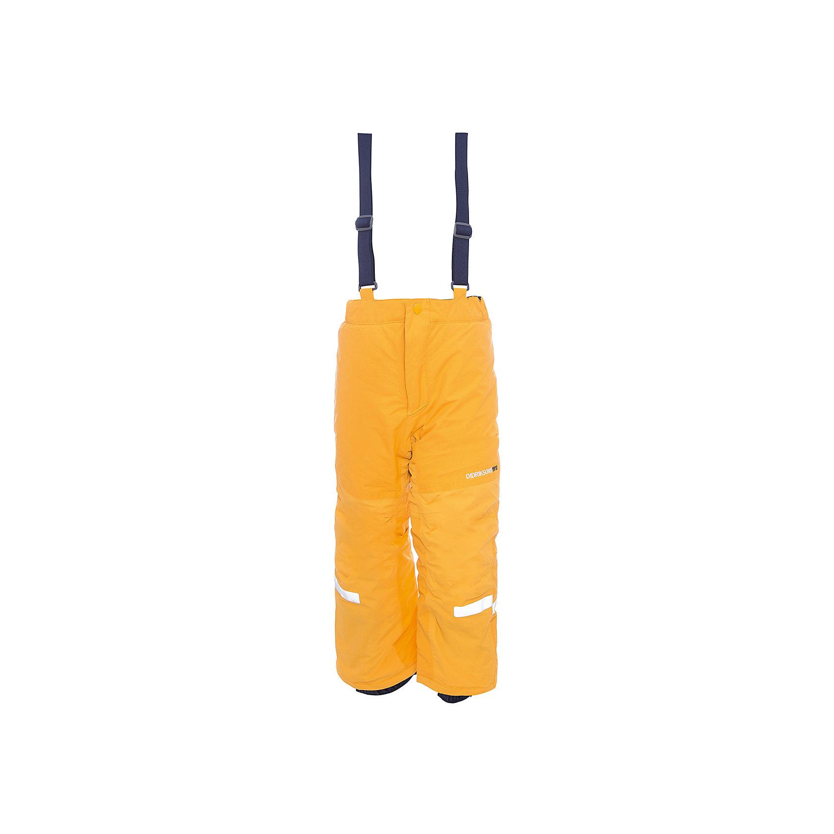 Брюки IDRE DIDRIKSONSВерхняя одежда<br>Характеристики товара:<br><br>• цвет: желтый<br>• состав ткани: 100% полиамид<br>• подкладка: 100% полиэстер<br>• утеплитель: 100% полиэстер<br>• сезон: зима<br>• мембранная<br>• температурный режим: от -20 до 0<br>• водонепроницаемость: 6000 мм <br>• паропроницаемость: 4000 г/м2<br>• плотность утеплителя: 140г/м2<br>• швы проклеены<br>• регулируемые подтяжки и низ штанин<br>• фиксированные лямки<br>• снежные гетры с силиконовой резинкой<br>• штрипки<br>• застежка: молния<br>• светоотражающие детали<br>• конструкция позволяет увеличить длину штанин на один размер<br>• страна бренда: Швеция<br>• страна изготовитель: Китай<br><br>Яркие зимние брюки для ребенка создают комфортные условия для тела. Непромокаемый и непродуваемый материал детских брюк легко чистится. Модные брюки для ребенка Didriksons рассчитаны на морозную погоду. Детские брюки от известного шведского бренда теплые и легкие. <br><br>Брюки для мальчика Idre Didriksons (Дидриксонс) можно купить в нашем интернет-магазине.<br><br>Ширина мм: 215<br>Глубина мм: 88<br>Высота мм: 191<br>Вес г: 336<br>Цвет: оранжевый<br>Возраст от месяцев: 108<br>Возраст до месяцев: 120<br>Пол: Унисекс<br>Возраст: Детский<br>Размер: 140,80,90,100,110,120,130<br>SKU: 7045236