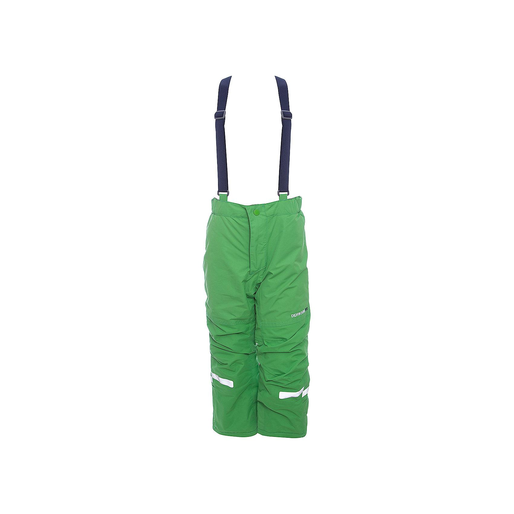 Брюки IDRE DIDRIKSONSВерхняя одежда<br>Характеристики товара:<br><br>• цвет: зеленый<br>• состав ткани: 100% полиамид<br>• подкладка: 100% полиэстер<br>• утеплитель: 100% полиэстер<br>• сезон: зима<br>• мембранная<br>• температурный режим: от -20 до 0<br>• водонепроницаемость: 6000 мм <br>• паропроницаемость: 4000 г/м2<br>• плотность утеплителя: 140г/м2<br>• швы проклеены<br>• регулируемые подтяжки и низ штанин<br>• фиксированные лямки<br>• снежные гетры с силиконовой резинкой<br>• штрипки<br>• застежка: молния<br>• светоотражающие детали<br>• конструкция позволяет увеличить длину штанин на один размер<br>• страна бренда: Швеция<br>• страна изготовитель: Китай<br><br>Оригинальные теплые брюки для ребенка Didriksons дополнены удобными подтяжками. Непромокаемый и непродуваемый материал детских брюк легко чистится. Детские брюки от известного шведского бренда теплые и легкие. Мембранные зимние брюки для ребенка отличаются продуманным дизайном. <br><br>Брюки Idre Didriksons (Дидриксонс) можно купить в нашем интернет-магазине.<br><br>Ширина мм: 215<br>Глубина мм: 88<br>Высота мм: 191<br>Вес г: 336<br>Цвет: зеленый<br>Возраст от месяцев: 108<br>Возраст до месяцев: 120<br>Пол: Унисекс<br>Возраст: Детский<br>Размер: 140,80,90,100,110,120,130<br>SKU: 7045244