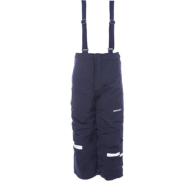 Брюки IDRE DIDRIKSONS для мальчикаВерхняя одежда<br>Характеристики товара:<br><br>• цвет: синий<br>• состав ткани: 100% полиамид<br>• подкладка: 100% полиэстер<br>• утеплитель: 100% полиэстер<br>• сезон: зима<br>• мембранная<br>• температурный режим: от -20 до 0<br>• водонепроницаемость: 6000 мм <br>• паропроницаемость: 4000 г/м2<br>• плотность утеплителя: 140г/м2<br>• швы проклеены<br>• регулируемые подтяжки и низ штанин<br>• фиксированные лямки<br>• снежные гетры с силиконовой резинкой<br>• штрипки<br>• застежка: молния<br>• светоотражающие детали<br>• конструкция позволяет увеличить длину штанин на один размер<br>• страна бренда: Швеция<br>• страна изготовитель: Китай<br><br>Практичные детские брюки от известного шведского бренда теплые и легкие. Мембранные зимние брюки для ребенка отличаются продуманным дизайном. Непромокаемый и непродуваемый материал детских брюк легко чистится. Модные брюки для мальчика Didriksons рассчитаны на холодную погоду. <br><br>Брюки Idre Didriksons (Дидриксонс) можно купить в нашем интернет-магазине.<br>Ширина мм: 215; Глубина мм: 88; Высота мм: 191; Вес г: 336; Цвет: синий; Возраст от месяцев: 18; Возраст до месяцев: 24; Пол: Мужской; Возраст: Детский; Размер: 90,80,140,130,120,110,100; SKU: 7045252;