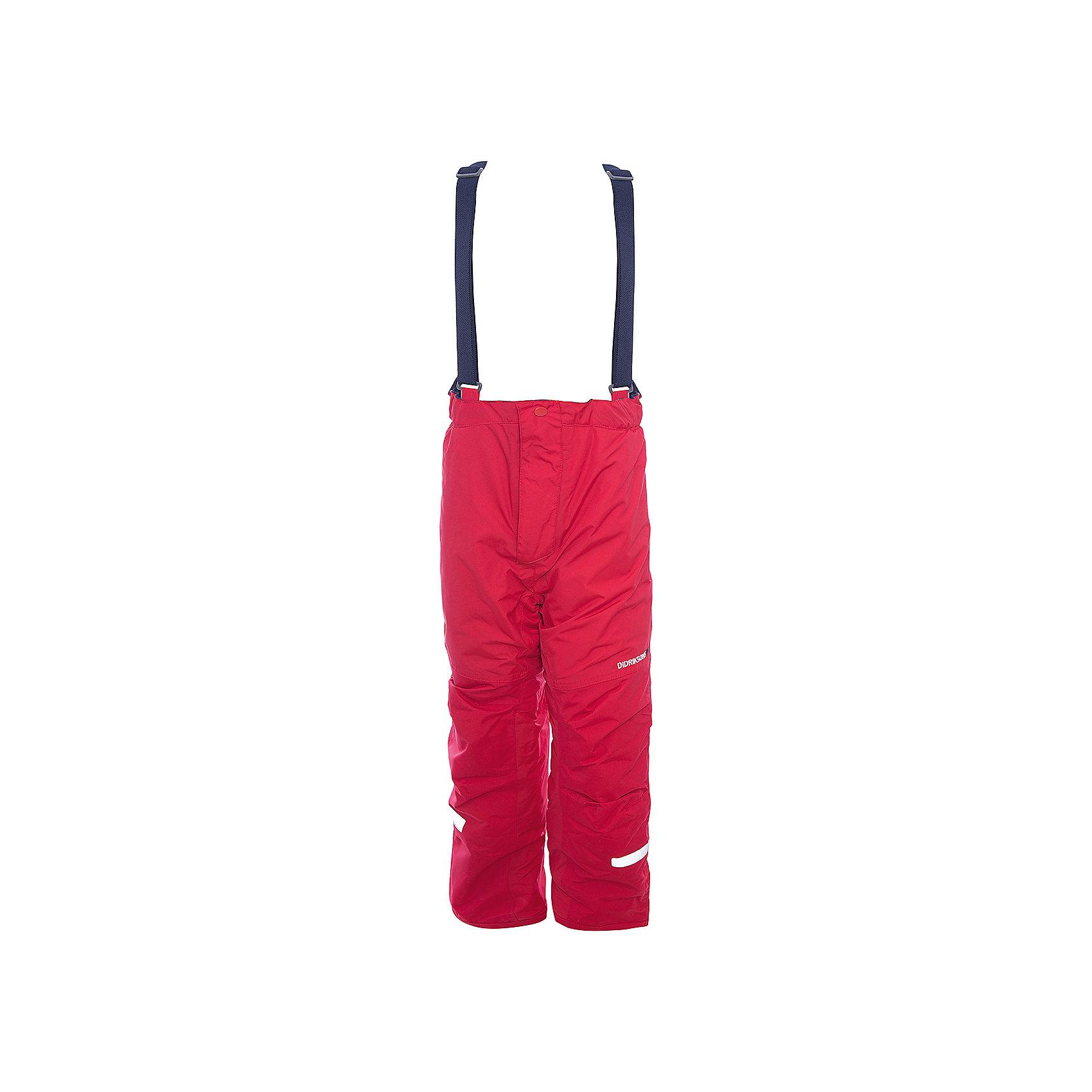Брюки IDRE DIDRIKSONS для мальчикаВерхняя одежда<br>Характеристики товара:<br><br>• цвет: красный<br>• состав ткани: 100% полиамид<br>• подкладка: 100% полиэстер<br>• утеплитель: 100% полиэстер<br>• сезон: зима<br>• мембранная<br>• температурный режим: от -20 до 0<br>• водонепроницаемость: 6000 мм <br>• паропроницаемость: 4000 г/м2<br>• плотность утеплителя: 140г/м2<br>• швы проклеены<br>• регулируемые подтяжки и низ штанин<br>• фиксированные лямки<br>• снежные гетры с силиконовой резинкой<br>• штрипки<br>• застежка: молния<br>• светоотражающие детали<br>• конструкция позволяет увеличить длину штанин на один размер<br>• страна бренда: Швеция<br>• страна изготовитель: Китай<br><br>Модные брюки для ребенка Didriksons можно при необходимости увеличить на один размер. Детские брюки от известного шведского бренда теплые и легкие. Яркие зимние брюки для ребенка создают комфортные условия для тела. Непромокаемый и непродуваемый материал детских брюк легко чистится. <br><br>Брюки для мальчика Idre Didriksons (Дидриксонс) можно купить в нашем интернет-магазине.<br><br>Ширина мм: 215<br>Глубина мм: 88<br>Высота мм: 191<br>Вес г: 336<br>Цвет: красный<br>Возраст от месяцев: 18<br>Возраст до месяцев: 24<br>Пол: Мужской<br>Возраст: Детский<br>Размер: 90,130,120,110,100<br>SKU: 7045260