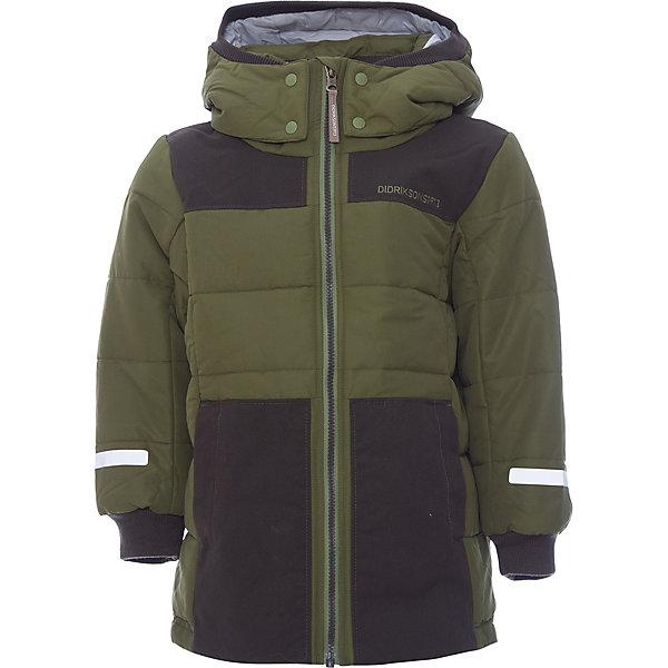Куртка RIS DIDRIKSONSВерхняя одежда<br>Характеристики товара:<br><br>• цвет: зеленый<br>• состав ткани: 100% полиамид<br>• подкладка: 100% полиэстер<br>• утеплитель: 100% полиэстер<br>• сезон: зима<br>• температурный режим: от -10 до +5<br>• особенности модели: стеганая<br>• ветронепроницаемость<br>• плотность утеплителя: 240г/м2<br>• капюшон: без меха, съемный<br>• застежка: молния<br>• страна бренда: Швеция<br>• страна изготовитель: Китай<br><br>Теплая детская куртка отлично подойдет для небольших морозов. Мягкая подкладка детской куртки делает её очень комфортной. Эта теплая куртка для ребенка дополнена удобным капюшоном, планкой от ветра и карманами. Плотный верх детской зимней куртки не продувается, его легко чистить. <br><br>Куртку Ris Didriksons (Дидриксонс) можно купить в нашем интернет-магазине.<br>Ширина мм: 356; Глубина мм: 10; Высота мм: 245; Вес г: 519; Цвет: зеленый; Возраст от месяцев: 12; Возраст до месяцев: 15; Пол: Унисекс; Возраст: Детский; Размер: 80,140,130,120,110,100,90; SKU: 7045314;