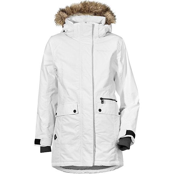 Куртка ZOE  DIDRIKSONS для девочкиВерхняя одежда<br>Характеристики товара:<br><br>• цвет: белый<br>• состав ткани: 100% полиамид<br>• подкладка: 100% полиэстер<br>• утеплитель: 100% полиэстер<br>• сезон: зима<br>• мембранное покрытие<br>• температурный режим: от -20 до 0<br>• водонепроницаемость: 5000 мм <br>• паропроницаемость: 4000 г/м2<br>• плотность утеплителя: 200г/м2<br>• регулируемый съемный капюшон<br>• съемный искусственный мех на капюшоне<br>• внутренние эластичные манжеты<br>• регулируемые манжеты, талия и низ изделия<br>• подкладка на спинке из искусственного меха<br>• застежка: молния<br>• страна бренда: Швеция<br>• страна изготовитель: Китай<br><br>Стильная мембранная детская куртка отлично подойдет для зимних морозов. Мягкая подкладка детской куртки делает её очень комфортной. Эта теплая куртка для девочки дополнена удобным капюшоном, планкой от ветра и карманами. Плотный верх детской зимней куртки не промокает и не продувается, его легко чистить. <br><br>Куртку для девочки Zoe Didriksons (Дидриксонс) можно купить в нашем интернет-магазине.<br>Ширина мм: 356; Глубина мм: 10; Высота мм: 245; Вес г: 519; Цвет: белый; Возраст от месяцев: 132; Возраст до месяцев: 144; Пол: Женский; Возраст: Детский; Размер: 150,130,170,160,140; SKU: 7045348;