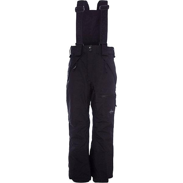 Брюки ELTON DIDRIKSONS для мальчикаВерхняя одежда<br>Характеристики товара:<br><br>• цвет: черный<br>• состав ткани: 100% полиамид<br>• подкладка: 100% полиэстер<br>• утеплитель: 100% полиэстер<br>• сезон: зима<br>• мембранная<br>• температурный режим: от -20 до 0<br>• водонепроницаемые <br>• непродуваемые<br>• плотность утеплителя: 60 г/м2<br>• швы проклеены<br>• подтяжки: регулируемые съемные <br>• штрипки<br>• застежка: молния<br>• страна бренда: Швеция<br>• страна изготовитель: Китай<br><br>Черные теплые брюки для ребенка Didriksons дополнены удобными подтяжками. Непромокаемый и непродуваемый материал детских брюк легко чистится. Детские брюки от известного шведского бренда теплые и легкие. Мембранные зимние брюки для ребенка отличаются продуманным дизайном. <br><br>Брюки для мальчика Elton Didriksons (Дидриксонс) можно купить в нашем интернет-магазине.<br><br>Ширина мм: 215<br>Глубина мм: 88<br>Высота мм: 191<br>Вес г: 336<br>Цвет: черный<br>Возраст от месяцев: 168<br>Возраст до месяцев: 180<br>Пол: Мужской<br>Возраст: Детский<br>Размер: 160,170,130,140,150<br>SKU: 7045390