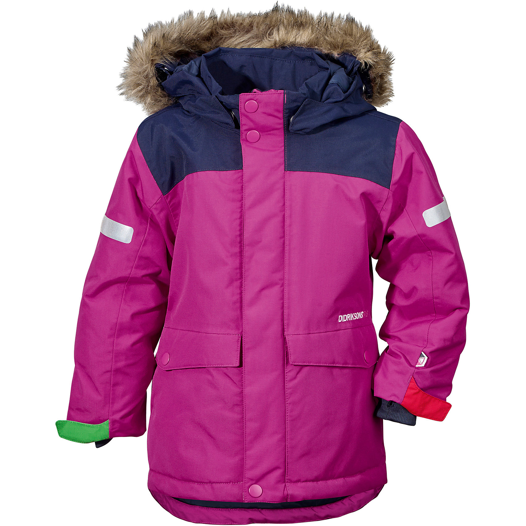 Куртка STORLIEN  DIDRIKSONS для девочкиВерхняя одежда<br>Характеристики товара:<br><br>• цвет: сиреневый<br>• состав ткани: 100% полиэстер<br>• подкладка: 100% полиэстер<br>• утеплитель: 100% полиэстер<br>• сезон: зима<br>• мембранное покрытие<br>• температурный режим: от -20 до 0<br>• водонепроницаемость: 10000 мм <br>• паропроницаемость: 4000 г/м2<br>• плотность утеплителя: 180 г/м2<br>• швы проклеены<br>• съемный капюшон<br>• съемный искусственный мех на капюшоне<br>• регулируемый капюшон, талия и рукава<br>• внутренние эластичные манжеты с отверстием для большого пальца<br>• крепления для перчаток<br>• светоотражающие детали<br>• застежка: молния, кнопки<br>• штрипки<br>• конструкция позволяет увеличить длину рукава на один размер<br>• страна бренда: Швеция<br>• страна изготовитель: Китай<br><br>Эта мембранная куртка для ребенка отличается продуманным дизайном. Плотный непромокаемый и непродуваемый верх детской куртки не мешает телу дышать. Модная куртка для ребенка Didriksons рассчитана даже на сильные морозы. Детская куртка от известного шведского бренда теплая и легкая. <br><br>Куртку для девочки Storlien Didriksons (Дидриксонс) можно купить в нашем интернет-магазине.<br><br>Ширина мм: 356<br>Глубина мм: 10<br>Высота мм: 245<br>Вес г: 519<br>Цвет: фиолетовый<br>Возраст от месяцев: 12<br>Возраст до месяцев: 15<br>Пол: Женский<br>Возраст: Детский<br>Размер: 80,130,120,110,100,90<br>SKU: 7045437