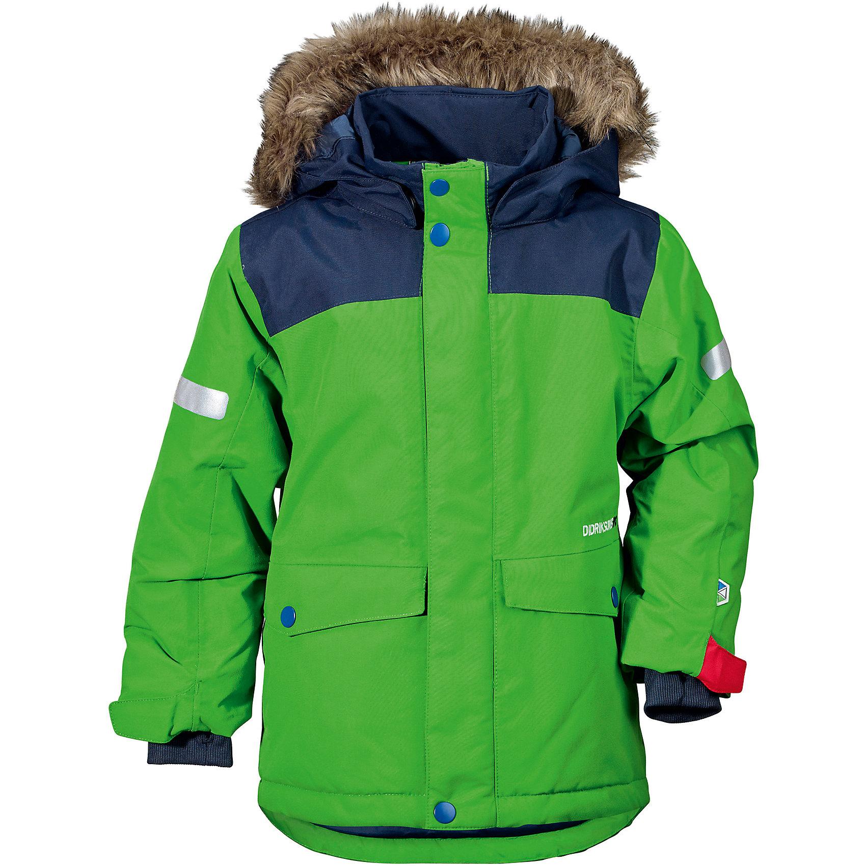 Куртка STORLIEN  DIDRIKSONSВерхняя одежда<br>Характеристики товара:<br><br>• цвет: зеленый<br>• состав ткани: 100% полиэстер<br>• подкладка: 100% полиэстер<br>• утеплитель: 100% полиэстер<br>• сезон: зима<br>• мембранное покрытие<br>• температурный режим: от -20 до 0<br>• водонепроницаемость: 10000 мм <br>• паропроницаемость: 4000 г/м2<br>• плотность утеплителя: 180 г/м2<br>• швы проклеены<br>• съемный капюшон<br>• съемный искусственный мех на капюшоне<br>• регулируемый капюшон, талия и рукава<br>• внутренние эластичные манжеты с отверстием для большого пальца<br>• крепления для перчаток<br>• светоотражающие детали<br>• застежка: молния, кнопки<br>• конструкция позволяет увеличить длину рукава на один размер<br>• страна бренда: Швеция<br>• страна изготовитель: Китай<br><br>Яркая теплая куртка для ребенка дополнена удобным капюшоном, планкой от ветра и карманами. Плотный верх детской куртки не промокает и не продувается, его легко чистить. Мембранная детская куртка отлично подойдет для зимних морозов. Мягкая подкладка детский куртки делает её очень комфортной. <br><br>Куртку Storlien Didriksons (Дидриксонс) можно купить в нашем интернет-магазине.<br><br>Ширина мм: 356<br>Глубина мм: 10<br>Высота мм: 245<br>Вес г: 519<br>Цвет: зеленый<br>Возраст от месяцев: 108<br>Возраст до месяцев: 120<br>Пол: Унисекс<br>Возраст: Детский<br>Размер: 140,80,90,100,110,120,130<br>SKU: 7045444