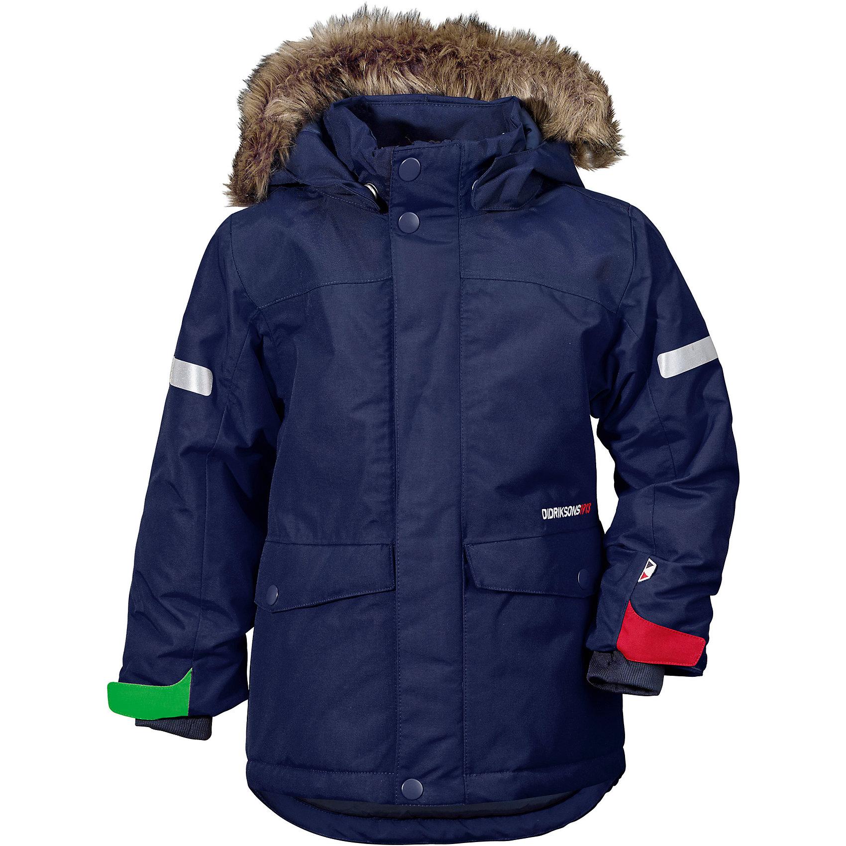 Куртка STORLIEN  DIDRIKSONSВерхняя одежда<br>Характеристики товара:<br><br>• цвет: синий<br>• состав ткани: 100% полиэстер<br>• подкладка: 100% полиэстер<br>• утеплитель: 100% полиэстер<br>• сезон: зима<br>• мембранное покрытие<br>• температурный режим: от -20 до 0<br>• водонепроницаемость: 10000 мм <br>• паропроницаемость: 4000 г/м2<br>• плотность утеплителя: 180 г/м2<br>• швы проклеены<br>• съемный капюшон<br>• съемный искусственный мех на капюшоне<br>• регулируемый капюшон, талия и рукава<br>• внутренние эластичные манжеты с отверстием для большого пальца<br>• крепления для перчаток<br>• светоотражающие детали<br>• застежка: молния, кнопки<br>• штрипки<br>• конструкция позволяет увеличить длину рукава и штанин на один размер<br>• страна бренда: Швеция<br>• страна изготовитель: Китай<br><br>Верх детской куртки - материал, который не промокает и не продувается, его легко чистить. Мембранная детская куртка надежно защитит ребенка в холода и мокрую погоду. Мягкая подкладка теплой куртки делает его очень комфортной. Мембранная куртка для ребенка дополнен удобным капюшоном, планкой от ветра и карманами. <br><br>Куртку Storlien Didriksons (Дидриксонс) можно купить в нашем интернет-магазине.<br><br>Ширина мм: 356<br>Глубина мм: 10<br>Высота мм: 245<br>Вес г: 519<br>Цвет: голубой<br>Возраст от месяцев: 108<br>Возраст до месяцев: 120<br>Пол: Унисекс<br>Возраст: Детский<br>Размер: 140,80,90,100,110,120,130<br>SKU: 7045452
