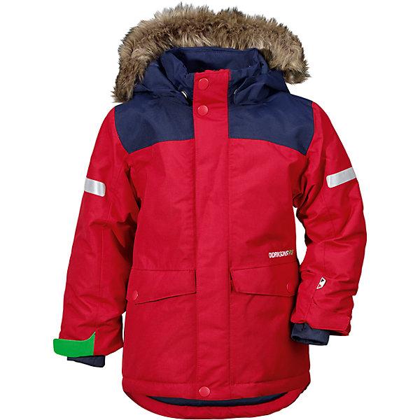 Куртка STORLIEN  DIDRIKSONS для мальчикаВерхняя одежда<br>Характеристики товара:<br><br>• цвет: красный<br>• состав ткани: 100% полиэстер<br>• подкладка: 100% полиэстер<br>• утеплитель: 100% полиэстер<br>• сезон: зима<br>• мембранное покрытие<br>• температурный режим: от -20 до 0<br>• водонепроницаемость: 5000 мм <br>• паропроницаемость: 4000 г/м2<br>• плотность утеплителя: 240 г/м2<br>• швы проклеены<br>• съемный капюшон<br>• съемный искусственный мех на капюшоне<br>• регулируемый капюшон, талия и рукава<br>• внутренние эластичные манжеты с отверстием для большого пальца<br>• крепления для перчаток<br>• светоотражающие детали<br>• застежка: молния, кнопки<br>• штрипки<br>• конструкция позволяет увеличить длину рукава на один размер<br>• страна бренда: Швеция<br>• страна изготовитель: Китай<br><br>Стильная мембранная куртка для ребенка отличается продуманным дизайном. Плотный непромокаемый и непродуваемый верх детской куртки не мешает телу дышать. Модная куртка для ребенка Didriksons рассчитана даже на сильные морозы. Детская куртка от известного шведского бренда теплая и легкая. <br><br>Куртку для мальчика Storlien Didriksons (Дидриксонс) можно купить в нашем интернет-магазине.<br><br>Ширина мм: 356<br>Глубина мм: 10<br>Высота мм: 245<br>Вес г: 519<br>Цвет: красный<br>Возраст от месяцев: 18<br>Возраст до месяцев: 24<br>Пол: Мужской<br>Возраст: Детский<br>Размер: 90,140,80,130,120,110,100<br>SKU: 7045460