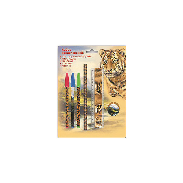 Канцелярский набор Тигр Феникс+Школьные аксессуары<br>Канцелярский набор в блистере ТИГР (3 ручки шарик. (красная, зеленая, синяя), 1 ластик диаметром 35мм, 1 точилка для карандашей диаметром 35мм, 1 пластиковая линейка длиной 150 мм, 1 круглый заточенный чернографитный карандаш в древесной оболочке твердости HB)<br><br>Ширина мм: 245<br>Глубина мм: 180<br>Высота мм: 20<br>Вес г: 75<br>Возраст от месяцев: 72<br>Возраст до месяцев: 2147483647<br>Пол: Унисекс<br>Возраст: Детский<br>SKU: 7046227