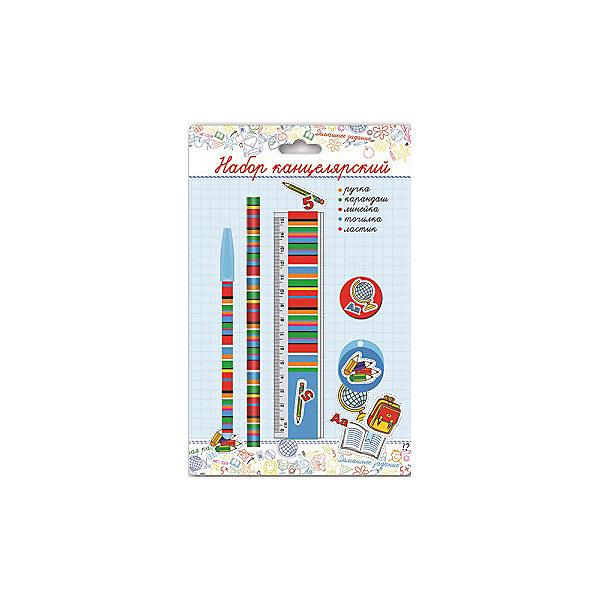 Канцелярский набор В школе Феникс+Школьные аксессуары<br>Канцелярский набор в блистере В ШКОЛЕ (1 ручка шарик. (синяя), 1 ластик диаметром 35мм, 1 точилка для карандашей диаметром 35мм, 1 пластиковая линейка длиной 150 мм, 1 круглый заточенный чернографитный карандаш в древесной оболочке твердости HB)<br>Ширина мм: 245; Глубина мм: 155; Высота мм: 20; Вес г: 65; Возраст от месяцев: 72; Возраст до месяцев: 2147483647; Пол: Унисекс; Возраст: Детский; SKU: 7046228;