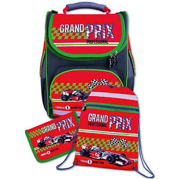 Ранец с наполнением Красный болид Феникс+Ранцы<br>Набор для школьника КРАСНЫЙ БОЛИД (ранец, пенал (без наполнения), мешок для обуви в подарочной картонной коробке с ПВХ-окошком (полиэстер): (ранец: 35x26x15см,  пенал: 20x13.5x3.5см, мешок для обуви: 36x48см)<br>Ширина мм: 350; Глубина мм: 260; Высота мм: 150; Вес г: 1645; Возраст от месяцев: 72; Возраст до месяцев: 2147483647; Пол: Унисекс; Возраст: Детский; SKU: 7046248;