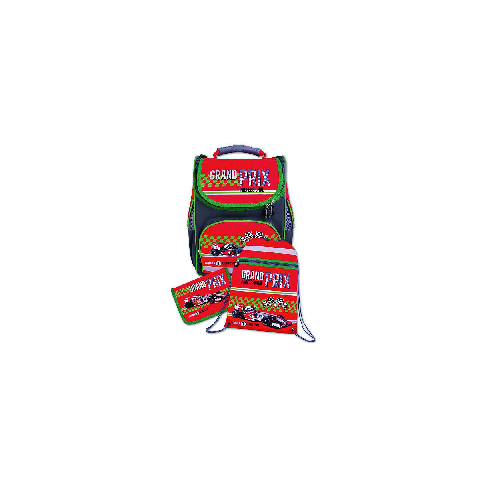 Ранец с наполнением Красный болид Феникс+Ранцы<br>Набор для школьника КРАСНЫЙ БОЛИД (ранец, пенал (без наполнения), мешок для обуви в подарочной картонной коробке с ПВХ-окошком (полиэстер): (ранец: 35x26x15см,  пенал: 20x13.5x3.5см, мешок для обуви: 36x48см)<br><br>Ширина мм: 350<br>Глубина мм: 260<br>Высота мм: 150<br>Вес г: 1645<br>Возраст от месяцев: 72<br>Возраст до месяцев: 2147483647<br>Пол: Унисекс<br>Возраст: Детский<br>SKU: 7046248