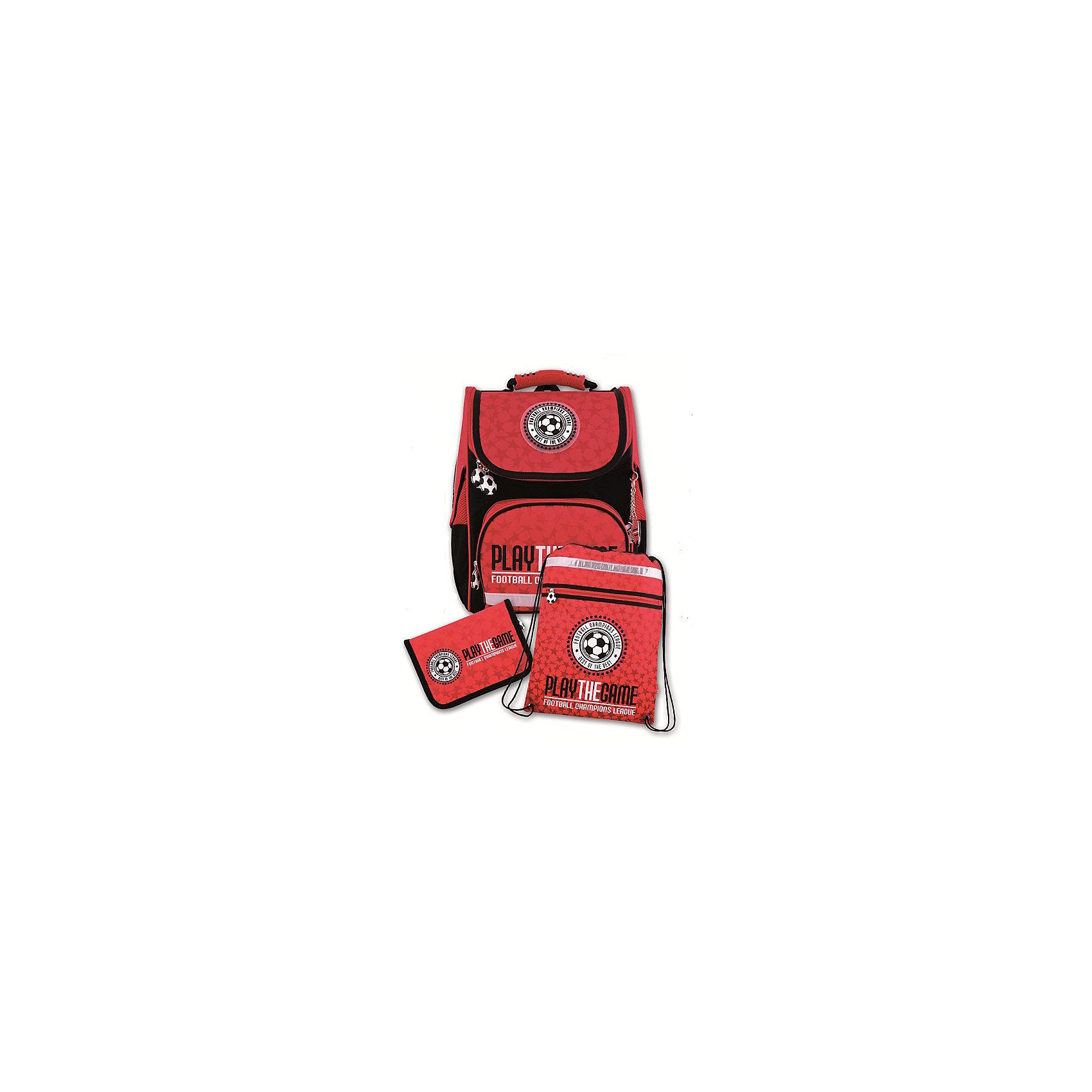 Ранец с наполнением Футбол Феникс+, красныйРанцы<br>Набор для школьника ФУТБОЛ (КРАСНЫЙ) (ранец, пенал (без наполнения), мешок для обуви в подарочной картонной коробке с ПВХ-окошком (полиэстер): (ранец: 35x26x15см,  пенал: 20x13.5x3.5см, мешок для обуви: 36x48см)<br><br>Ширина мм: 300<br>Глубина мм: 190<br>Высота мм: 370<br>Вес г: 1835<br>Возраст от месяцев: 72<br>Возраст до месяцев: 2147483647<br>Пол: Унисекс<br>Возраст: Детский<br>SKU: 7046250