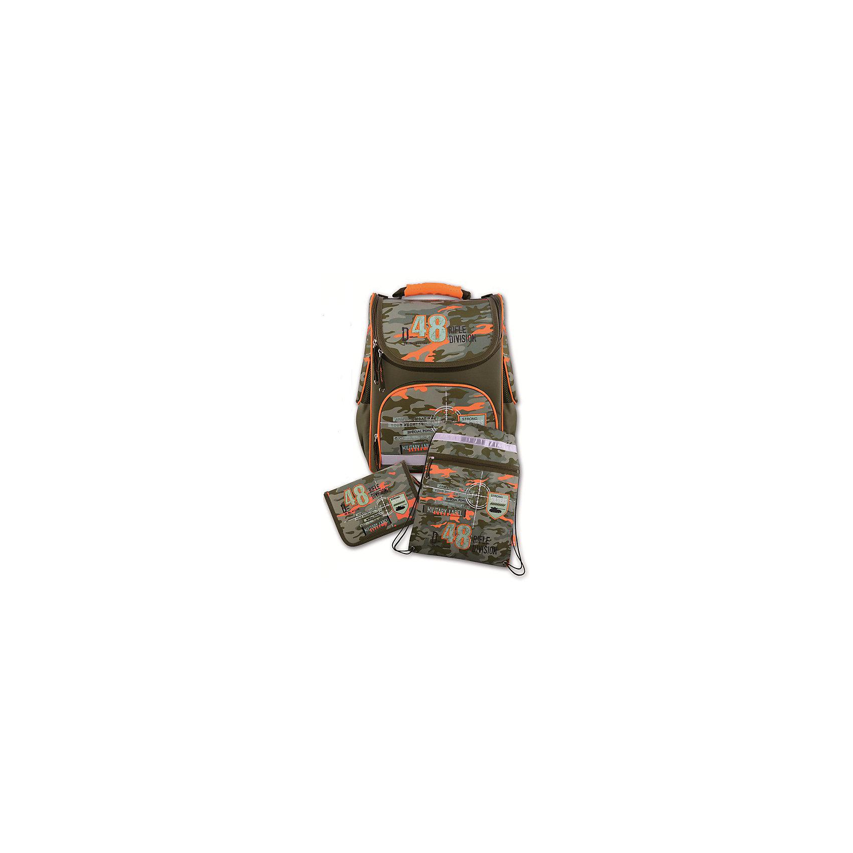 Ранец с наполнением Стиль милитари Феникс+,Ранцы<br>Набор для школьника СТИЛЬ МИЛИТАРИ (ранец, пенал (без наполнения), мешок для обуви в подарочной картонной коробке с ПВХ-окошком (полиэстер): (ранец: 35x26x15см,  пенал: 20x13.5x3.5см, мешок для обуви: 36x48см)<br><br>Ширина мм: 300<br>Глубина мм: 190<br>Высота мм: 370<br>Вес г: 1835<br>Возраст от месяцев: 72<br>Возраст до месяцев: 2147483647<br>Пол: Унисекс<br>Возраст: Детский<br>SKU: 7046251