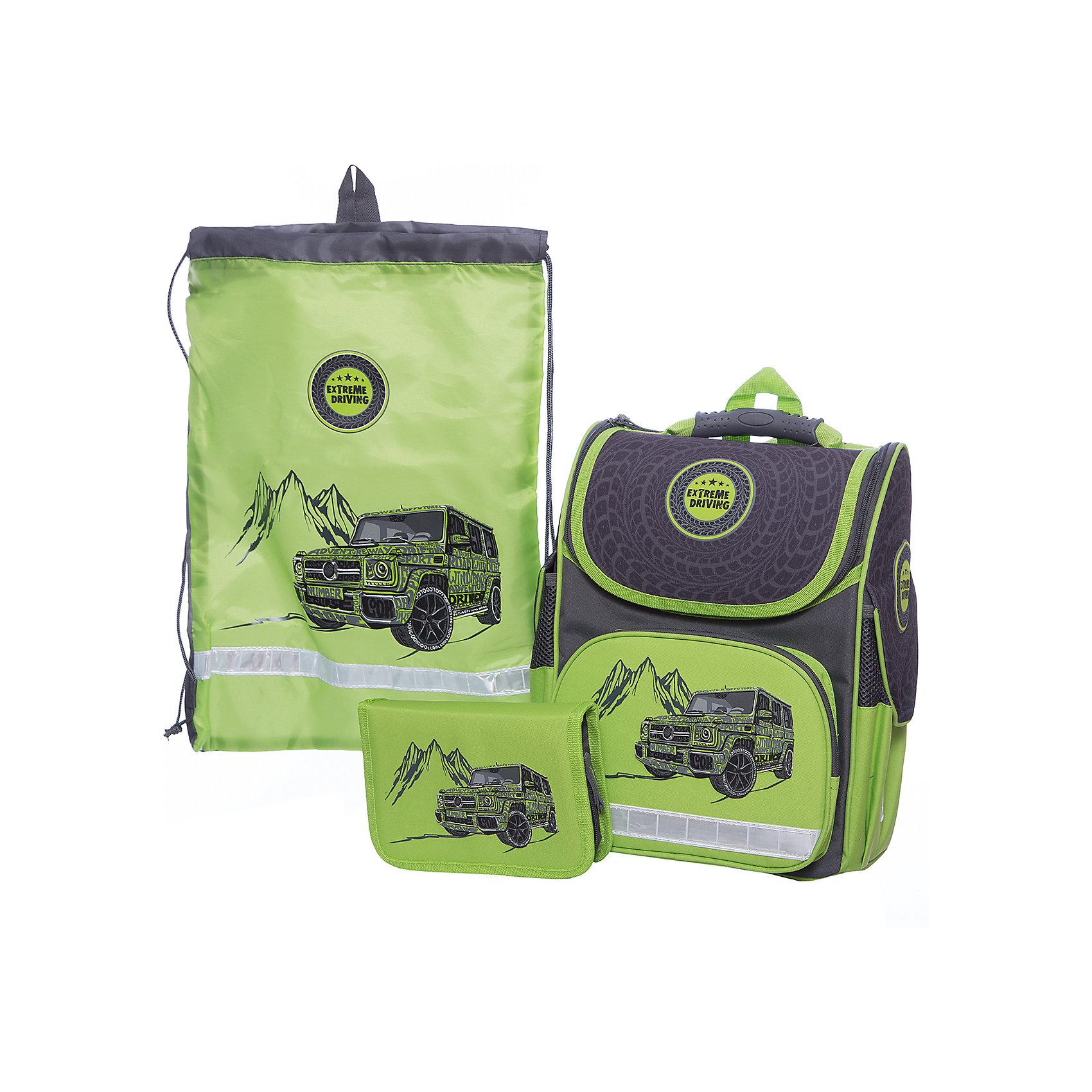 Ранец с наполнением Джип на зеленом Феникс+Ранцы<br>Набор для школьника ДЖИП НА ЗЕЛЕНОМ (ранец (полиэстер), пенал (без наполнения), мешок для обуви: (ранец: 35x26x15см,  пенал: 20x13.3x3.5см, мешок для обуви: 36x48см. Набор в подарочной картонной коробке с ПВХ-окном)<br><br>Ширина мм: 300<br>Глубина мм: 190<br>Высота мм: 370<br>Вес г: 1540<br>Возраст от месяцев: 72<br>Возраст до месяцев: 2147483647<br>Пол: Унисекс<br>Возраст: Детский<br>SKU: 7046252