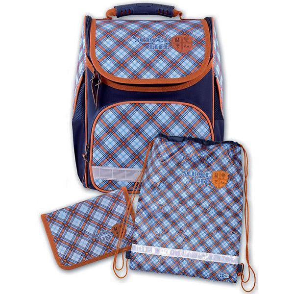 Набор для школьника Шотландка Феникс+, голубаяРанцы<br>Набор для школьника ШОТЛАНДКА (ГОЛУБАЯ) (ранец (полиэстер), пенал (без наполнения), мешок для обуви: (ранец: 35x26x15см,  пенал: 20x13.3x3.5см, мешок для обуви: 36x48см. Набор в подарочной картонной коробке с ПВХ-окном)<br><br>Ширина мм: 300<br>Глубина мм: 190<br>Высота мм: 370<br>Вес г: 1500<br>Возраст от месяцев: 72<br>Возраст до месяцев: 2147483647<br>Пол: Унисекс<br>Возраст: Детский<br>SKU: 7046254