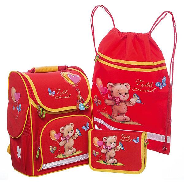 Набор для школьницы Мишка с шариками Феникс+Ранцы<br>Набор для школьницы МИШКА С ШАРИКАМИ (ранец, пенал (без наполнения), мешок для обуви в подарочной картонной коробке с ПВХ-окошком (полиэстер): (ранец: 35x26x15см,  пенал: 20x13.3x3.5см, мешок для обуви: 36x48см)<br><br>Ширина мм: 300<br>Глубина мм: 190<br>Высота мм: 370<br>Вес г: 1835<br>Возраст от месяцев: 72<br>Возраст до месяцев: 2147483647<br>Пол: Женский<br>Возраст: Детский<br>SKU: 7046257