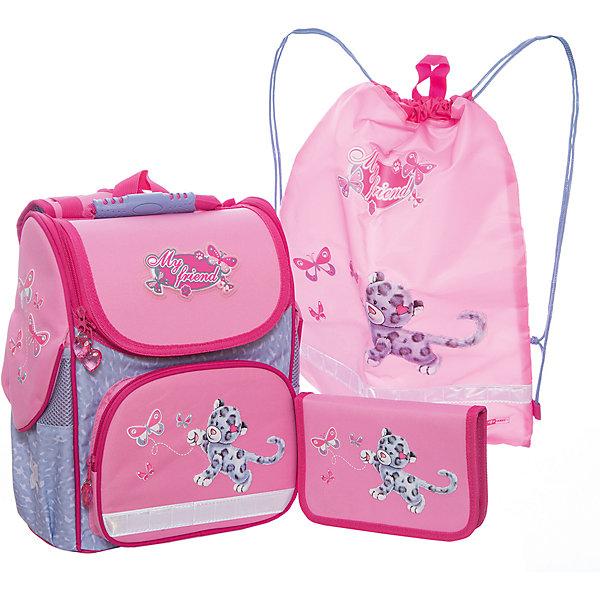 Набор для школьницы Леопард и бабочка Феникс+Ранцы<br>Набор для школьницы ЛЕОПАРД И БАБОЧКА (ранец (полиэстер), пенал (без наполнения), мешок для обуви: (ранец: 35x26x15см,  пенал: 20x13.3x3.5см, мешок для обуви: 36x48см. Набор в подарочной картонной коробке с ПВХ-окном)<br><br>Ширина мм: 300<br>Глубина мм: 190<br>Высота мм: 370<br>Вес г: 1540<br>Возраст от месяцев: 72<br>Возраст до месяцев: 2147483647<br>Пол: Женский<br>Возраст: Детский<br>SKU: 7046259