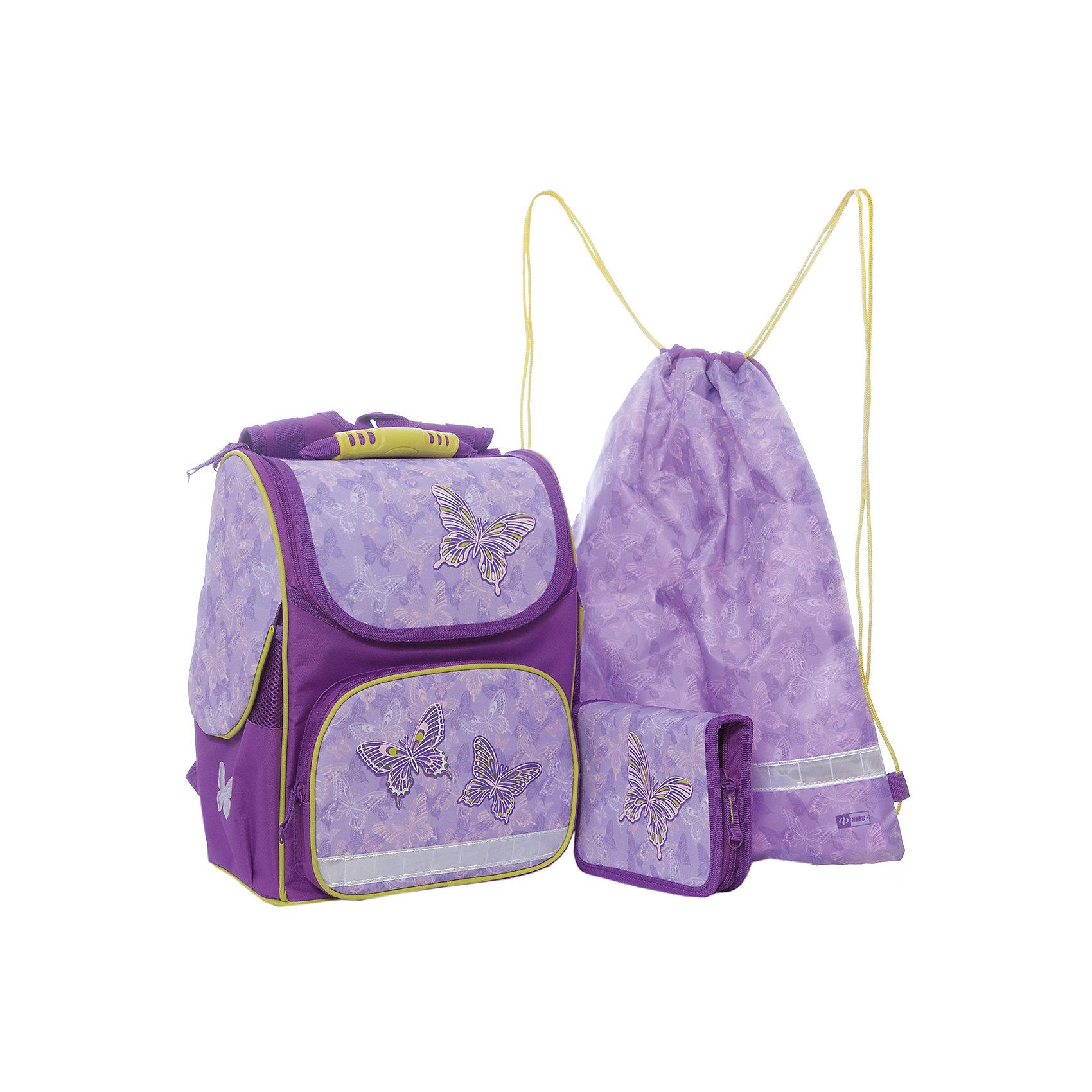 Набор для школьницы Сиреневые бабочки  Феникс+Ранцы<br>Набор для школьницы СИРЕНЕВЫЕ БАБОЧКИ (ранец (полиэстер), пенал (без наполнения), мешок для обуви: (ранец: 35x26x15см,  пенал: 20x13.3x3.5см, мешок для обуви: 36x48см. Набор в подарочной картонной коробке с ПВХ-окном)<br><br>Ширина мм: 300<br>Глубина мм: 190<br>Высота мм: 370<br>Вес г: 1540<br>Возраст от месяцев: 72<br>Возраст до месяцев: 2147483647<br>Пол: Женский<br>Возраст: Детский<br>SKU: 7046260