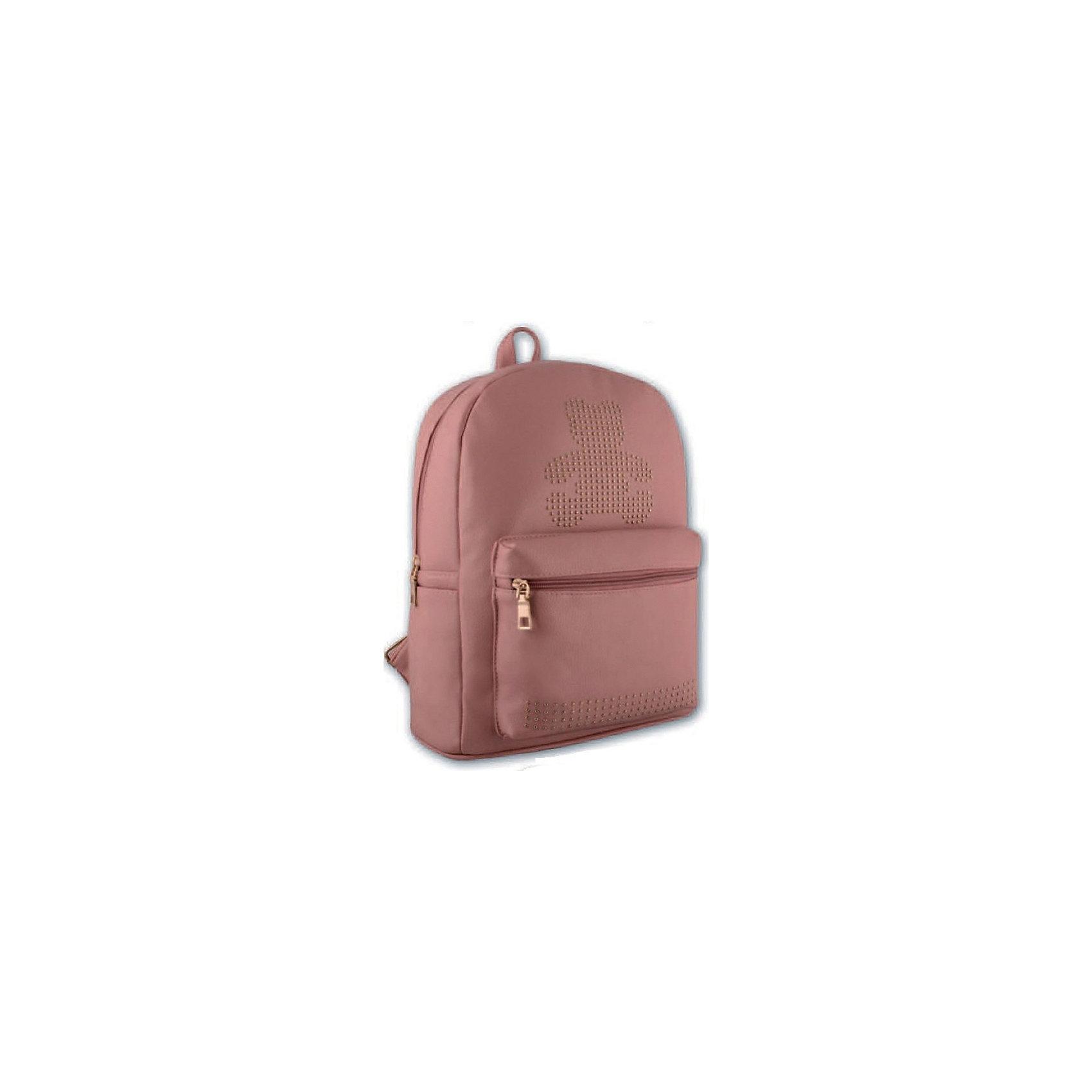 Рюкзак молодежный Феникс+, розовый с мишкойРюкзаки<br>Рюкзак молодежный РОЗОВЫЙ С МИШКОЙ (35х26х16см, кожзам, уплотн. лямки с регулировкой, декор. метал. заклепками, 1 фронт. и 2 бок. кармана, индив. ПЭТ-пакет)<br><br>Ширина мм: 350<br>Глубина мм: 260<br>Высота мм: 160<br>Вес г: 690<br>Возраст от месяцев: 72<br>Возраст до месяцев: 2147483647<br>Пол: Унисекс<br>Возраст: Детский<br>SKU: 7046418