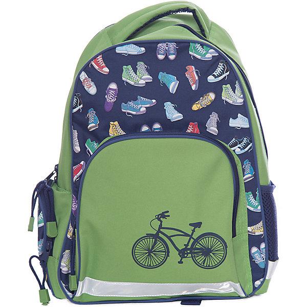 Рюкзак школьный ВелосипедФеникс+Рюкзаки<br>Рюкзак школьный  ВЕЛОСИПЕД (36x29x13см, полиэстер, уплотнен. спинка и лямки, карманы, цв. светоотраж. рант, карабин д/ключей, индивид. ПЭТ-упак.)<br><br>Ширина мм: 400<br>Глубина мм: 330<br>Высота мм: 40<br>Вес г: 485<br>Возраст от месяцев: 72<br>Возраст до месяцев: 2147483647<br>Пол: Унисекс<br>Возраст: Детский<br>SKU: 7046431