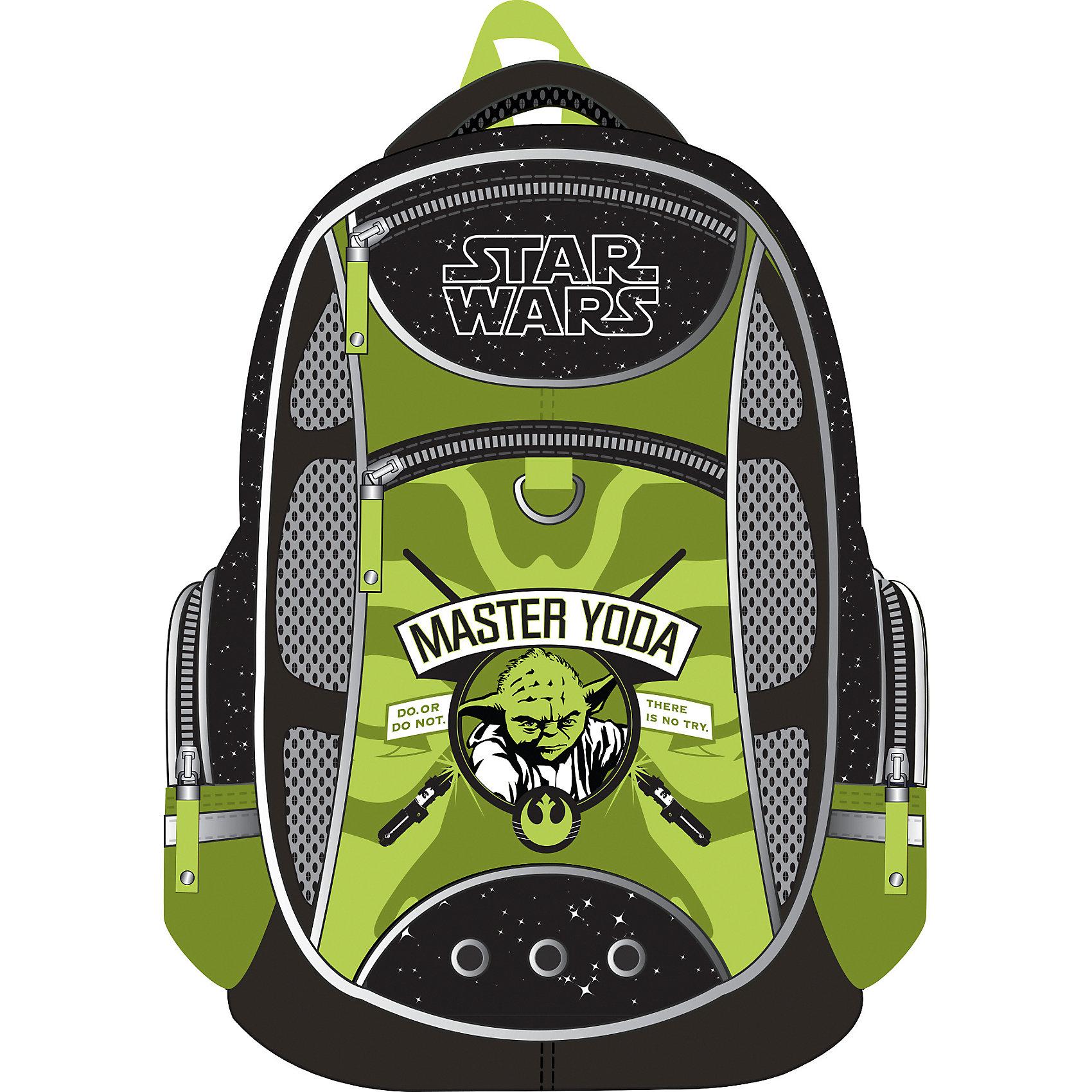 Школьный рюкзак Магистр Йода, Звездные войныЗвездные войны Товары для школы<br>Школьный рюкзак, Star Wars – этот легкий вместительный рюкзак будет надежным спутником для вашего школьника.<br>У рюкзака Star Wars эргономичная конструкция спинки из подушечек с вентиляционными каналами, которая не только не дает ребенку сутулиться, но и обеспечивает идеальную вентиляцию для спины. Уплотненные S-образные лямки из вентилируемого сетчатого материала с системой регулирования для изменения положения рюкзака одним движением позволят снизить нагрузку на плечи. Рюкзак имеет 2 отделения, два фронтальных кармана на молниях, дополнительные боковые карманы, закрывающиеся на застежки-молнии. Дно укреплено пластиковыми ножками и внутренней откидывающейся жесткой вставкой. Имеется мягкая ручка и петля для подвешивания. Светоотражающие элементы, расположенные с 3х сторон изделия, обеспечивает большую безопасность в темноте.<br><br>Дополнительная информация:<br><br>- Размер: 44 x 31 x 16 см.<br>- Вес: 450 гр.<br>- Материал: полиэстер<br><br>Школьный рюкзак, Star Wars можно купить в нашем интернет-магазине.<br><br>Ширина мм: 280<br>Глубина мм: 140<br>Высота мм: 380<br>Вес г: 810<br>Возраст от месяцев: 72<br>Возраст до месяцев: 120<br>Пол: Унисекс<br>Возраст: Детский<br>SKU: 7049497