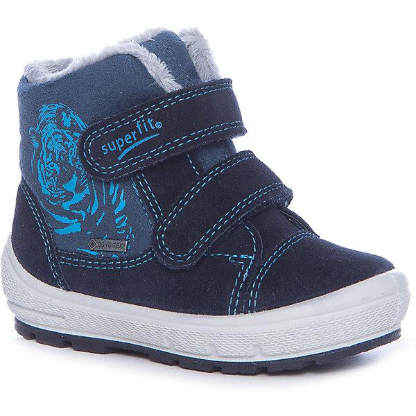 Ботинки Superfit для мальчикаБотинки<br>Характеристики товара:<br><br>• цвет: синий<br>• внешний материал: замша<br>• внутренний материал: текстиль<br>• стелька: шерсть<br>• подошва: полимер<br>• сезон: зима<br>• мембранные<br>• температурный режим: от +5 до -25<br>• особенности модели: спортивный стиль<br>• застежка: липучка<br>• защита мыса <br>• анатомические <br>• подошва не скользит<br>• страна бренда: Австрия<br>• страна изготовитель: Индия<br><br>Синие мембранные ботинки Superfit - пример качественной и красивой австрийской обуви. Эта модель детской обуви создана с учетом последних веяний в молодежной моде. Зимние ботинки удобные и износостойкие. <br><br>Обувь Superfit не требует сложного ухода. Большинство загрязнений легко удаляются влажной губкой, сильные загрязнения можно смыть под струей воды сразу после прогулки.<br><br>Ботинки для мальчика Superfit (Суперфит) можно купить в нашем интернет-магазине.<br><br>Ширина мм: 262<br>Глубина мм: 176<br>Высота мм: 97<br>Вес г: 427<br>Цвет: синий<br>Возраст от месяцев: 18<br>Возраст до месяцев: 21<br>Пол: Мужской<br>Возраст: Детский<br>Размер: 23,25,24,22,30,29,28,27,26<br>SKU: 7051228