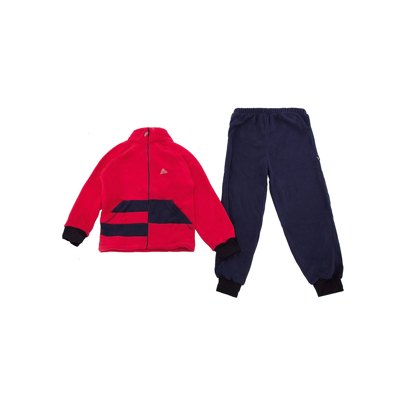 Комплект Полоска ЛисФлисФлис и термобелье<br>Характеристики товара:<br><br>• цвет: красный/синий;<br>• состав: 100% полиэстер, флис (180 гр);<br>• сезон: зима;<br>• особенности: флисовый, без капюшона;<br>• застежка: молния;<br>• защита подбородка от защемления;<br>• эластичные манжеты на рукавах и штанинах;<br>• штаны на резинке;<br>• два прорезных кармана;<br>• страна бренда: Россия;<br>• страна производства: Россия.<br><br>Флисовый комплект на молнии. Изделие можно одевать как поддеву (дополнительный утепляющий слой) под мембранную одежду при минусовой температуре. А как самостоятельный элемент одежды (верхний слой) от +10 градусов. Прочная молния комбинезона расстегивается и застегивается одним движением руки. Флисовый комплект, кофта на молнии, без капюшона, штаны на резинке.<br><br>Комплект Полоска ЛисФлис можно купить в нашем интернет-магазине.<br><br>Ширина мм: 190<br>Глубина мм: 74<br>Высота мм: 229<br>Вес г: 236<br>Цвет: красный<br>Возраст от месяцев: 12<br>Возраст до месяцев: 15<br>Пол: Унисекс<br>Возраст: Детский<br>Размер: 80,146,86,92,98,104,110,116,122,128,134,140<br>SKU: 7052760