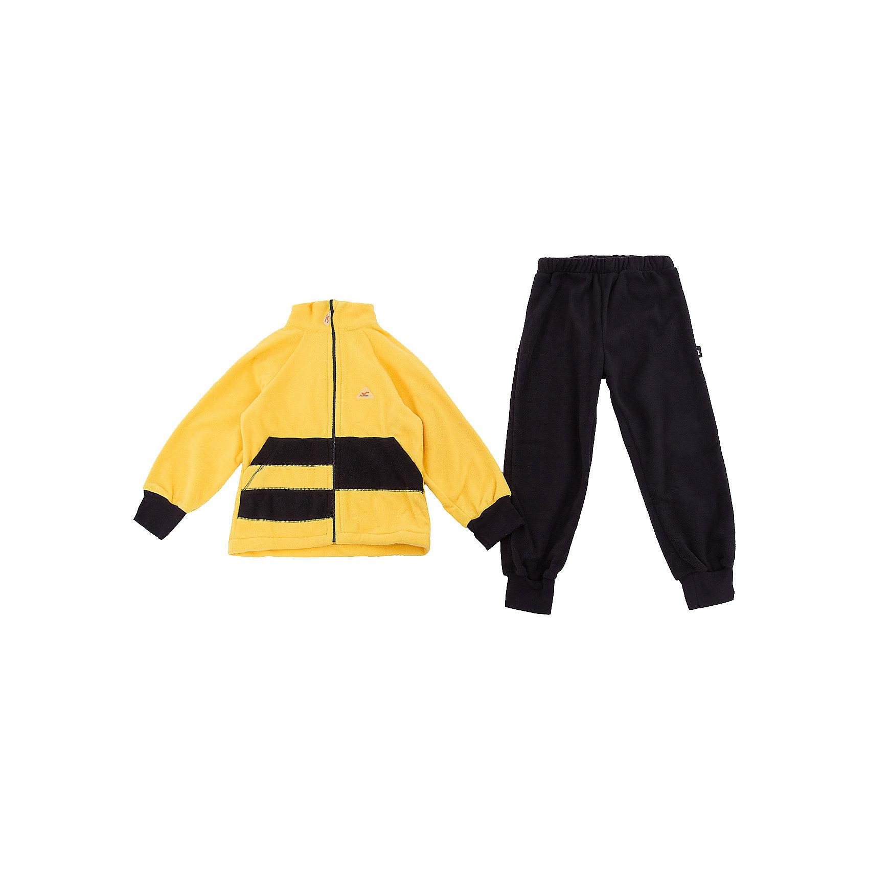 Комплект Полоска ЛисФлисФлис и термобелье<br>Характеристики товара:<br><br>• цвет: желтый/черный;<br>• состав: 100% полиэстер, флис (180 гр);<br>• сезон: зима;<br>• особенности: флисовый, без капюшона;<br>• застежка: молния;<br>• защита подбородка от защемления;<br>• эластичные манжеты на рукавах и штанинах;<br>• штаны на резинке;<br>• два прорезных кармана;<br>• страна бренда: Россия;<br>• страна производства: Россия.<br><br>Флисовый комплект на молнии. Изделие можно одевать как поддеву (дополнительный утепляющий слой) под мембранную одежду при минусовой температуре. А как самостоятельный элемент одежды (верхний слой) от +10 градусов. Прочная молния комбинезона расстегивается и застегивается одним движением руки. Флисовый комплект, кофта на молнии, без капюшона, штаны на резинке.<br><br>Комплект Полоска ЛисФлис можно купить в нашем интернет-магазине.<br><br>Ширина мм: 190<br>Глубина мм: 74<br>Высота мм: 229<br>Вес г: 236<br>Цвет: желтый<br>Возраст от месяцев: 12<br>Возраст до месяцев: 15<br>Пол: Унисекс<br>Возраст: Детский<br>Размер: 80,146,86,92,98,104,110,116,122,128,134,140<br>SKU: 7052812
