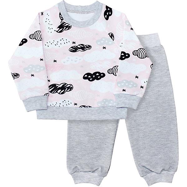 Комплект Веселый малыш для девочкиКомплекты<br>Характеристики товара:<br><br>• цвет: серый<br>• комплектация: свитшот и брюки<br>• состав ткани: 95% хлопок, 5% полиэстер<br>• подкладка: нет<br>• сезон: круглый год<br>• длинные рукава<br>• пояс: резинка<br>• страна бренда: Россия<br>• страна изготовитель: Россия<br><br>Детский комплект с принтом состоит из удобного свитшота и брюк. Хлопковый комплект для детей сделан из дышащего приятного на ощупь материала. Хлопок легко стирается и быстро сохнет. Материал детского комплекта позволяет коже дышать и не вызывает аллергии. <br><br>Комплект Веселый малыш для девочки можно купить в нашем интернет-магазине.<br><br>Ширина мм: 157<br>Глубина мм: 13<br>Высота мм: 119<br>Вес г: 200<br>Цвет: розовый<br>Возраст от месяцев: 12<br>Возраст до месяцев: 15<br>Пол: Женский<br>Возраст: Детский<br>Размер: 80,98,74,86,92<br>SKU: 7053220