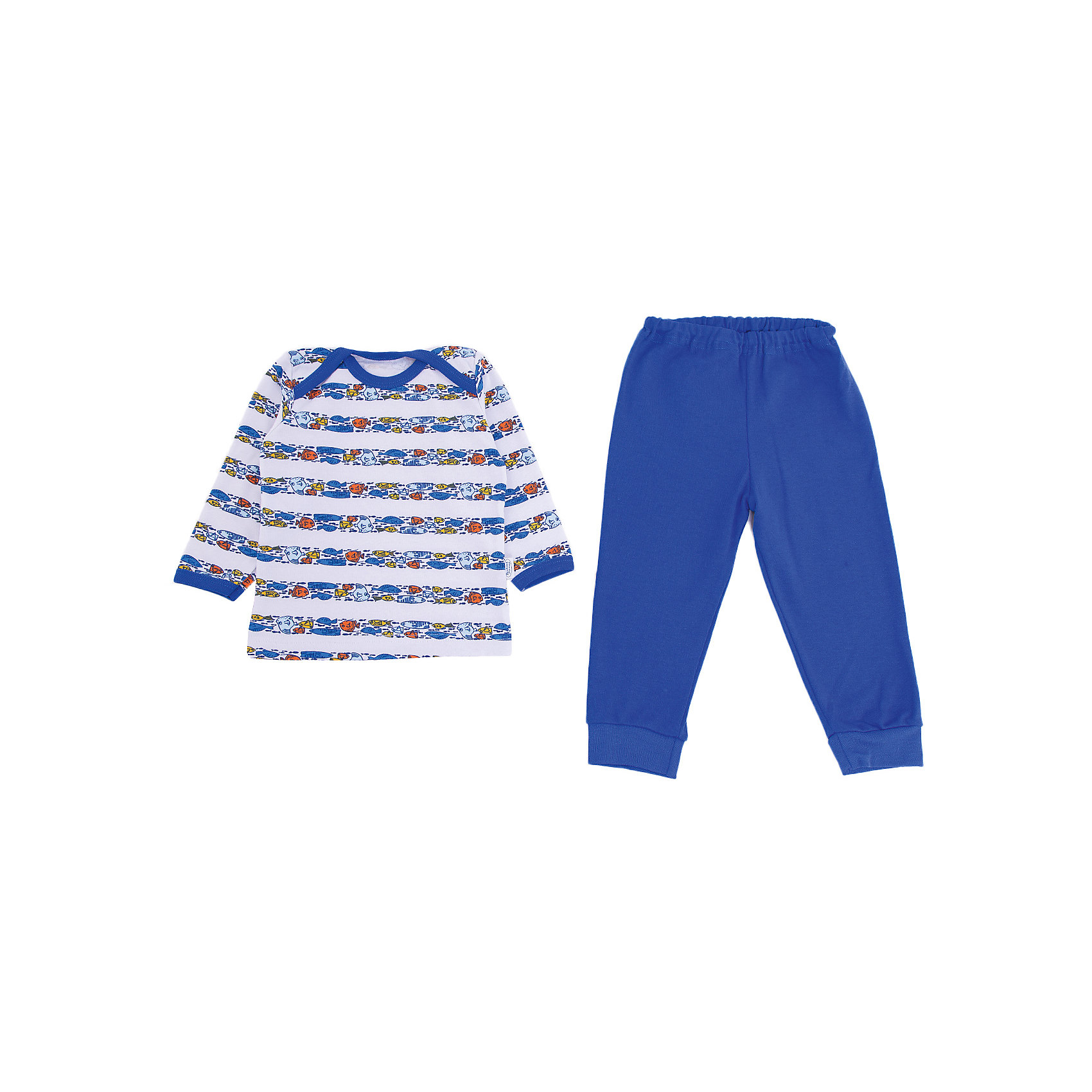 Пижама Веселый малыш для мальчикаПижамы<br>Характеристики товара:<br><br>• цвет: синий<br>• комплектация: лонгслив и брюки<br>• состав ткани: 100% хлопок<br>• подкладка: нет<br>• сезон: круглый год<br>• длинные рукава<br>• пояс: резинка<br>• страна бренда: Россия<br>• страна изготовитель: Россия<br><br>Мягкая детская пижама состоит из удобного лонгслива и брюк. Хлопковая пижама для детей сделана из мягкого эластичного материала. Хлопок делает эту пижаму для ребенка очень комфортной. Материал детской пижамы позволяет коже дышать, он приятен на ощупь и не вызывает аллергии. <br><br>Пижаму Веселый малыш для мальчика можно купить в нашем интернет-магазине.<br><br>Ширина мм: 281<br>Глубина мм: 70<br>Высота мм: 188<br>Вес г: 295<br>Цвет: синий<br>Возраст от месяцев: 12<br>Возраст до месяцев: 18<br>Пол: Мужской<br>Возраст: Детский<br>Размер: 86,68,74,80<br>SKU: 7053408