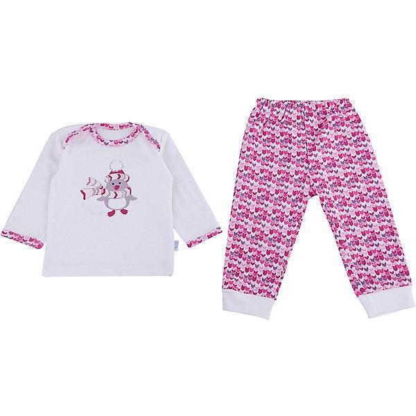 Пижама Веселый малыш для девочкиПижамы<br>Характеристики товара:<br><br>• цвет: розовый<br>• комплектация: лонгслив и брюки<br>• состав ткани: 100% хлопок<br>• подкладка: нет<br>• сезон: круглый год<br>• длинные рукава<br>• пояс: резинка<br>• страна бренда: Россия<br>• страна изготовитель: Россия<br><br>Удобная пижама для девочки украшена принтом. Детская пижама от бренда Веселый малыш не натирает и не жмет. Материал пижамы для детей позволяет коже дышать, хлопок приятен на ощупь и не вызывает аллергии. Хлопковая детская пижама<br> легко надевается.<br><br>Пижаму Веселый малыш для девочки можно купить в нашем интернет-магазине.<br><br>Ширина мм: 281<br>Глубина мм: 70<br>Высота мм: 188<br>Вес г: 295<br>Цвет: розовый<br>Возраст от месяцев: 6<br>Возраст до месяцев: 9<br>Пол: Женский<br>Возраст: Детский<br>Размер: 74,68,86,80<br>SKU: 7053418