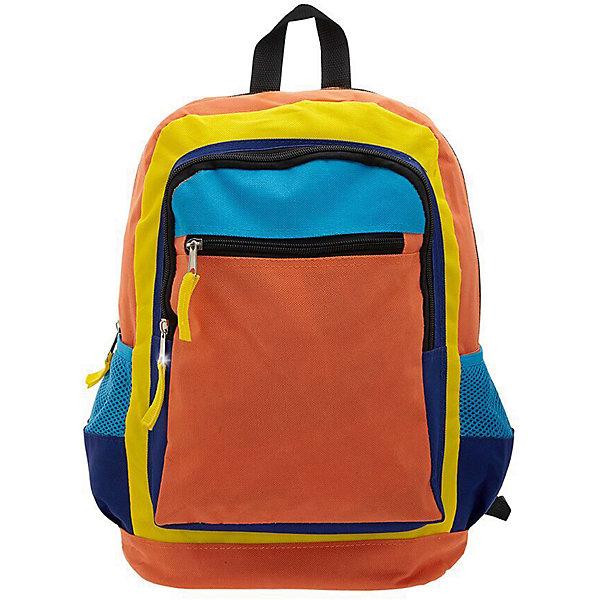 Рюкзак Оранжевое настроение, цвет оранжевый с синимРюкзаки<br>Характеристики товара:<br><br>• цвет: оранжевый/синий;<br>• класс: старшеклассники;<br>• особенности рюкзака: большой, легкий, школьный;<br>• вес: 0,3 кг;<br>• размер: 38х28х16 см;<br>• материал: текстиль;<br>• страна бренда: США;<br>• страна изготовитель: Китай.<br><br>Стильный, вместительный и практичный, рюкзак понравится и школьникам, и студентам. Просторный внутренний отсек, наружный карман на молнии будут очень удобны в использовании.<br><br>Рюкзак «Оранжевое настроение» можно купить в нашем интернет-магазине.<br>Ширина мм: 380; Глубина мм: 280; Высота мм: 160; Вес г: 300; Возраст от месяцев: 60; Возраст до месяцев: 120; Пол: Унисекс; Возраст: Детский; SKU: 7054021;