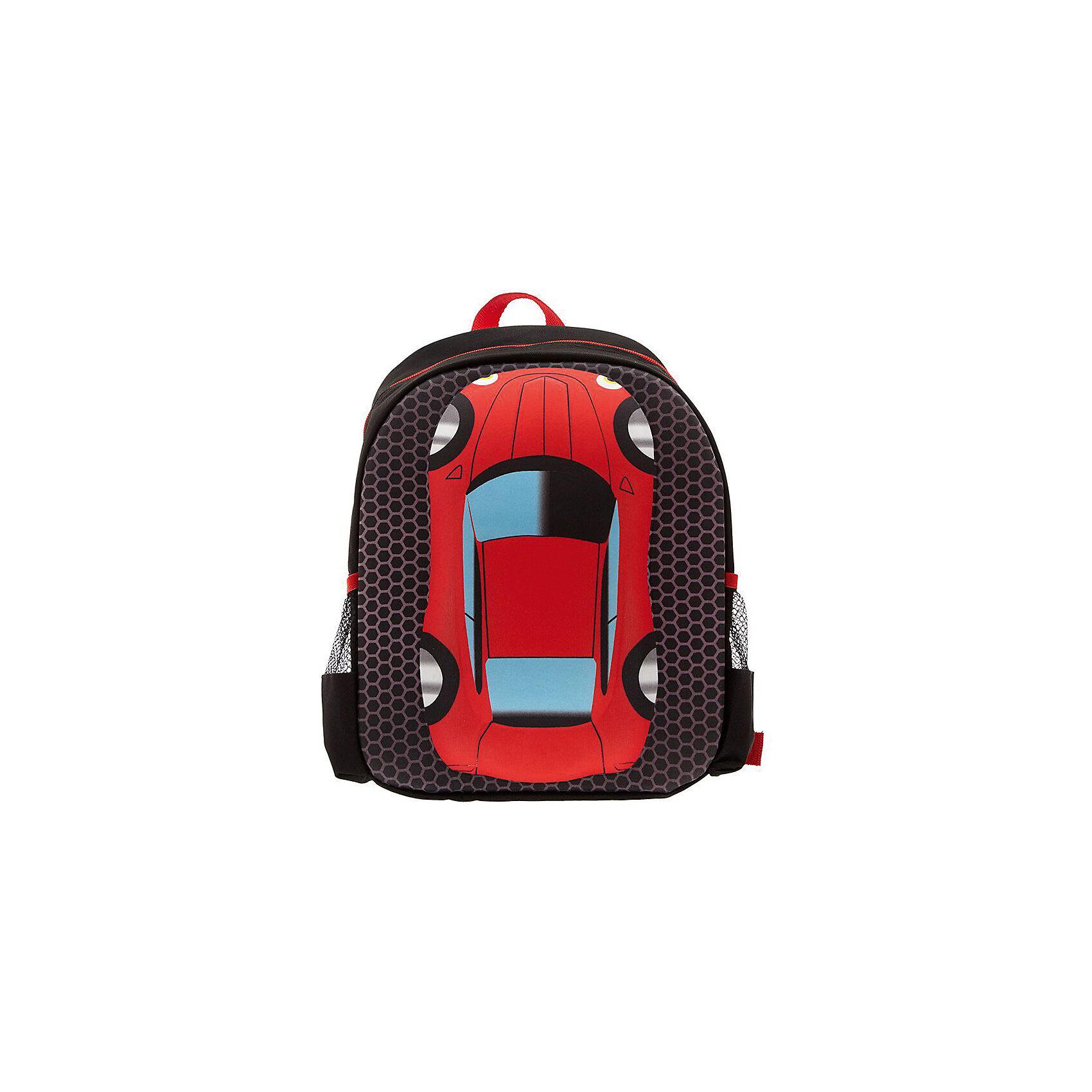 Рюкзак Машина, цвет черный с краснымРюкзаки<br>Вес: 0,3 кг<br>Размер: 36х28х12 см<br>Состав: рюкзак<br>Наличие светоотражающих элементов: нет<br>Материал: полиэстер<br><br>Ширина мм: 360<br>Глубина мм: 280<br>Высота мм: 120<br>Вес г: 300<br>Возраст от месяцев: 60<br>Возраст до месяцев: 72<br>Пол: Унисекс<br>Возраст: Детский<br>SKU: 7054025