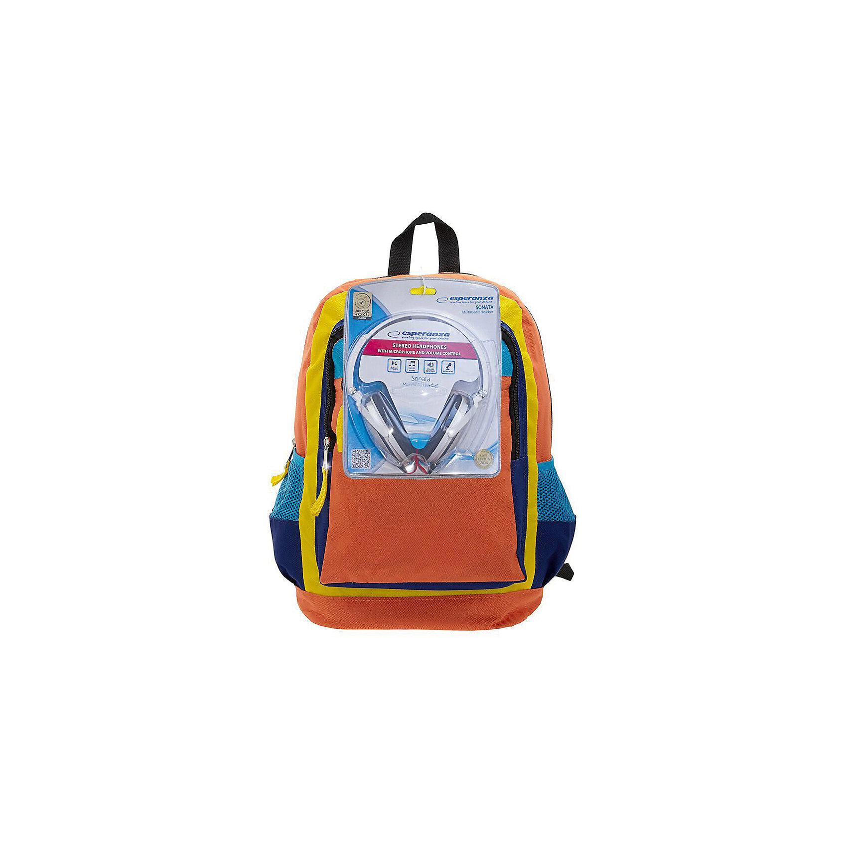 Рюкзак Оранжевое настроение с наушниками, цвет оранжевый с синимРюкзаки<br>Вес: 0,5 кг<br>Размер: 40х32х13 см<br>Состав: рюкзак с наушниками<br>Наличие светоотражающих элементов: нет<br>Материал: полиэстер<br><br>Ширина мм: 380<br>Глубина мм: 280<br>Высота мм: 160<br>Вес г: 500<br>Возраст от месяцев: 84<br>Возраст до месяцев: 720<br>Пол: Унисекс<br>Возраст: Детский<br>SKU: 7054032