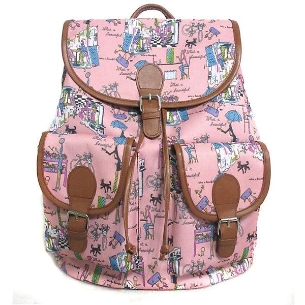 Рюкзак Модница с 2-мя карманами, цвет розовыйРюкзаки<br>Характеристики товара:<br><br>• цвет: розовый;<br>• возраст: от 7 лет;<br>• особенности рюкзака: с принтом;<br>• вес: 0,5 кг;<br>• размер: 39х35х17 см;<br>• материал: полиэстер;<br>• затягивается на шнурок;<br>• сверху клапан застегивается;<br>• два кармана;<br>• лямки и фурнитура с отделкой из экокожи;<br>• страна бренда: США;<br>• страна изготовитель: Китай.<br><br>Стильный рюкзак с яркой расцветкой предназначен для студентов, школьников и всех любителей носить сумки за спиной.<br><br>Рюкзак имеет классический крой, застежку на клапан и двая карманами впереди. Лямки регулируются по высоте. Все швы и застежки рюкзака надежно и крепко пришиты.<br><br>Рюкзак «Модница» с 2-мя карманами можно купить в нашем интернет-магазине.<br>Ширина мм: 390; Глубина мм: 350; Высота мм: 170; Вес г: 500; Возраст от месяцев: 84; Возраст до месяцев: 720; Пол: Унисекс; Возраст: Детский; SKU: 7054037;