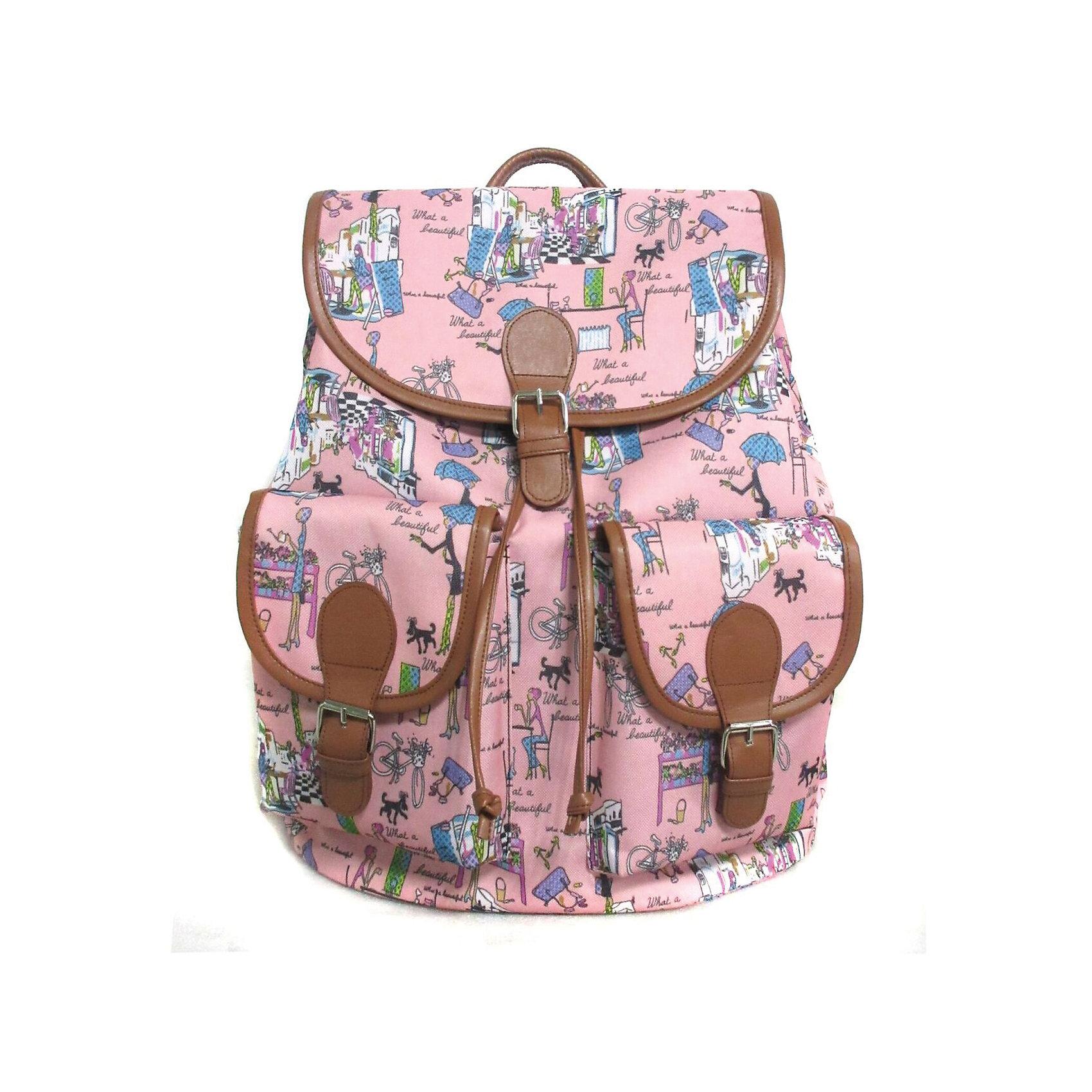 Рюкзак Модница с 2-мя карманами, цвет розовыйРюкзаки<br>Вес: 0,5 кг<br>Размер: 39х35х17 см<br>Состав: рюкзак<br>Наличие светоотражающих элементов: нет<br>Материал: полиэстер<br><br>Ширина мм: 390<br>Глубина мм: 350<br>Высота мм: 170<br>Вес г: 500<br>Возраст от месяцев: 84<br>Возраст до месяцев: 720<br>Пол: Унисекс<br>Возраст: Детский<br>SKU: 7054037