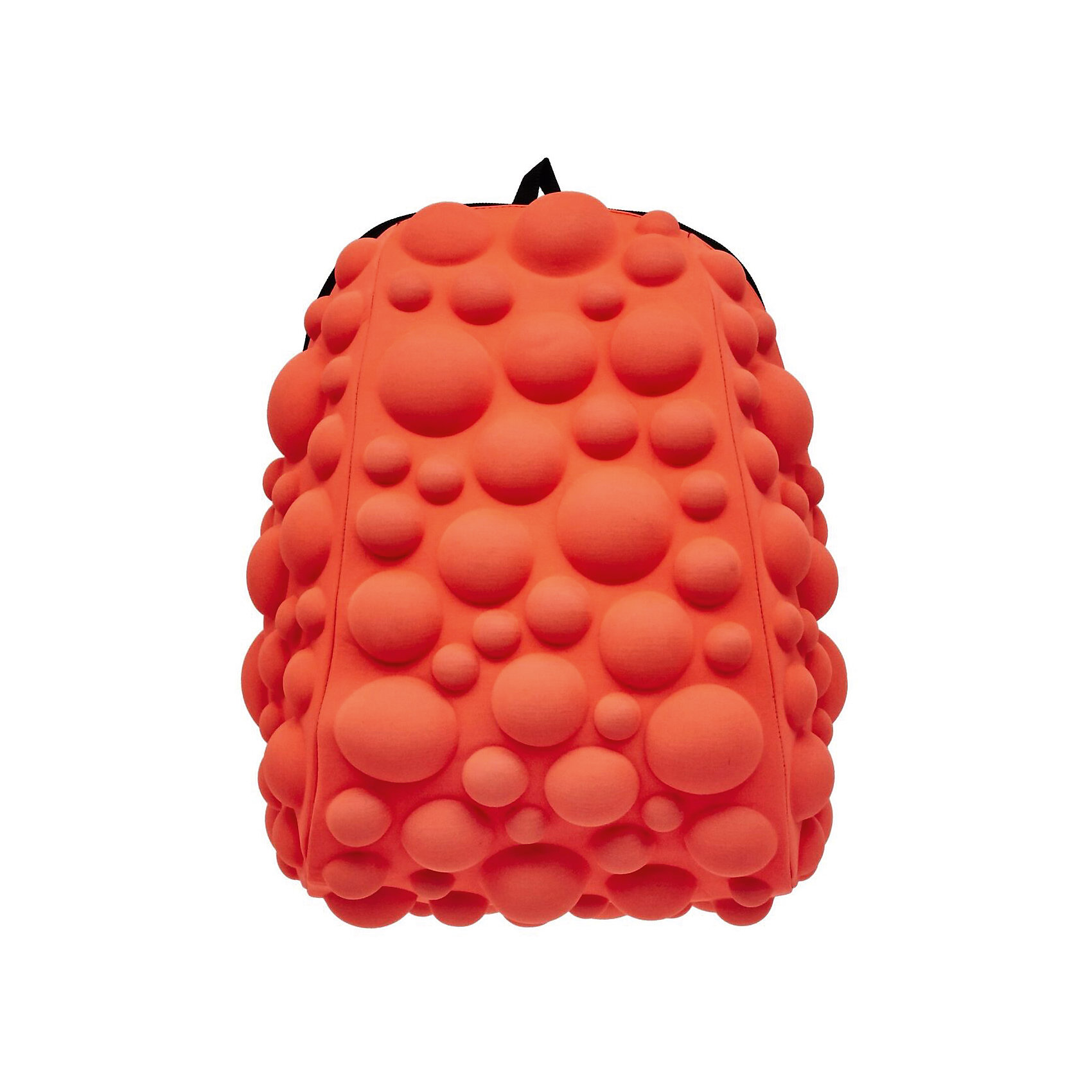 Рюкзак Bubble Half, цвет NEON оранжево-персиковыйРюкзаки<br>Характеристики товара:<br><br>• цвет: Neon оранжево - персиковый;<br>• возраст: от 3 лет;<br>• особенности модели: с пузырями;<br>• вес: 0,6 кг;<br>• размер: 36х31х15 см;<br>• материал: полиспандекс; <br>• ортопедическая спинка;<br>• страна бренда: США;<br>• страна изготовитель: Китай.<br><br>Яркие стильные и современные рюкзаки с пузырьками от американского бренда MadPax станут неотъемлемой частью модного образа вашего ребенка.<br><br>Рюкзак довольно вместительный, внутри два отделения: большое и поменьше для папки формата А4 или планшета с диагональю до 13 дюймов.  Эргономичные ручки дают возможность без лишних усилий переносить тяжелый рюкзак за спиной. <br><br>Лямки оснащены фиксатором в области груди. Вентилируемым материал на ортопедической спинке создаст комфорт. Этот рюкзак придаст индивидуальность и неповторимый стиль его владельцу.<br><br>Рюкзак «Bubble Half» можно купить в нашем интернет-магазине.<br><br>Ширина мм: 360<br>Глубина мм: 310<br>Высота мм: 150<br>Вес г: 600<br>Возраст от месяцев: 36<br>Возраст до месяцев: 720<br>Пол: Унисекс<br>Возраст: Детский<br>SKU: 7054059