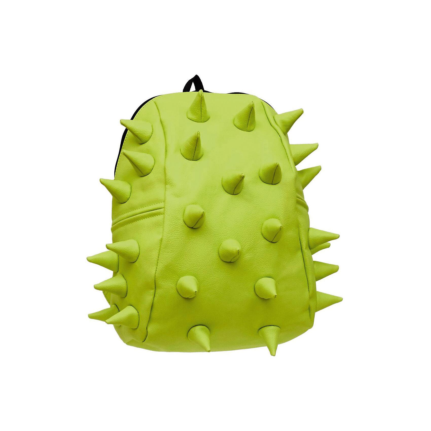 Рюкзак Rex 2 Half, цвет лаймРюкзаки<br>Характеристики товара:<br><br>• цвет: лайм / зеленый;<br>• возраст: от 3 лет;<br>• вес: 0,6 кг;<br>• размер: 36х30х15 см;<br>• особенности модели: с пузырями;<br>• основное отделение на молнии;<br>• в основное отделение с легкостью входит ноутбук размером диагонали 13 дюймов, iPad и формат А4;<br>• мягкие регулируемые по высоте лямки;<br>• ортопедическую спинка;<br>• два дополнительных боковых кармана на молнии;<br>• материал: полиуретан;<br>• страна бренда: США;<br>• страна изготовитель: Китай.<br><br>Удобный и стильный рюкзак «Rex 2 Half» из огромной коллекции рюкзаков Madpax непременно понравится школьникам. Стильный шипованный дизайн и яркость цвета выделяют рюкзак среди остальных моделей. <br><br>Мягкие ремни регулируются в зависимости от роста ребенка, проветриваемая спинка и дополнительные карманы делают рюкзак максимально комфортным.<br><br>Материал не требует особого ухода, достаточно лишь протереть его влажной губкой, чтобы удалить загрязнение.<br><br>Рюкзак «Rex 2 Half» можно купить в нашем интернет-магазине.<br><br>Ширина мм: 360<br>Глубина мм: 310<br>Высота мм: 150<br>Вес г: 600<br>Возраст от месяцев: 36<br>Возраст до месяцев: 720<br>Пол: Унисекс<br>Возраст: Детский<br>SKU: 7054065