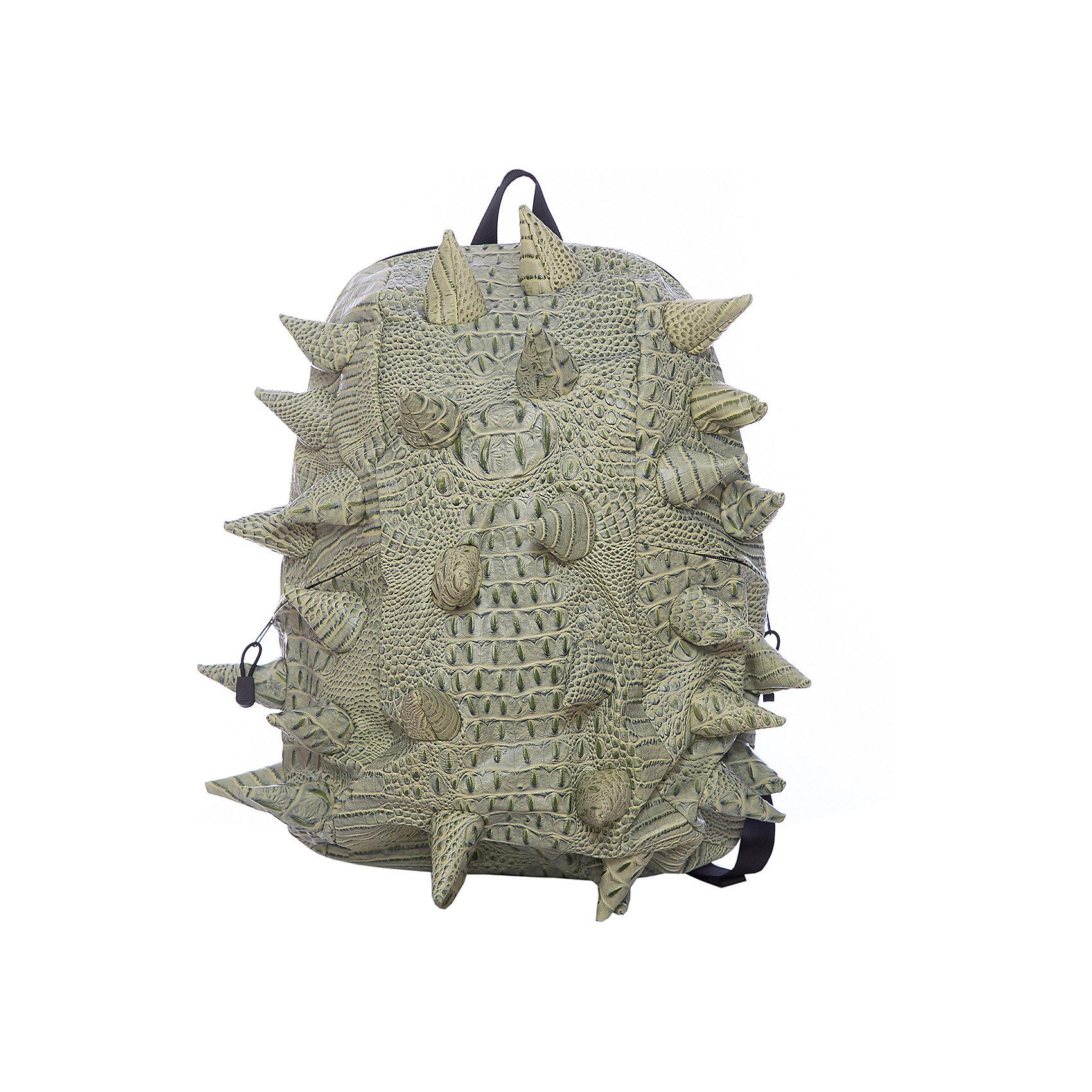 Рюкзак Gator Full, цвет Snap Dragon (зеленый)Рюкзаки<br>Характеристики товара:<br><br>• цвет: Snap Dragon (зеленый);<br>• возраст: от 5 лет;<br>• вес: 0,8 кг;<br>• размер: 46х35х20 см;<br>• особенности модели: с пузырями;<br>• большое отделение на молнии;<br>• дополнительный карман на задней стенке рюкзака;<br>• мягкие регулируемые лямки;<br>• ортопедическая спинка с вентиляцией;<br>• два дополнительных боковых кармана на молнии;<br>• материал: поливинил;<br>• страна бренда: США;<br>• страна изготовитель: Китай.<br><br>Удобный рюкзак для детей Madpax «Gator Full» непременно понравится детям. Малый вес рюкзака позволяет ребенку носить с собой все необходимое для учебы, при этом не перегружая позвоночник. Стильный шипованный дизайн с имитацией кожи рептилий выделяют рюкзак Мэдпакс Гатор Фулл среди аналогичных моделей. <br><br>Удобное расположение дополнительных кармашков позволяет ребенку с легкостью доставать необходимые ему вещи. Специальная спинка рюкзака Гатор Фулл обеспечивает постоянную вентиляцию спины. Мягкие ремни регулируются в зависимости от роста ребенка. Рюкзак «Gator Full» – это стильная и удобная модель, которая предназначена для ежедневного ношения. <br><br>Рюкзак Madpax «Gator Full» можно купить в нашем интернет-магазине.<br><br>Ширина мм: 460<br>Глубина мм: 350<br>Высота мм: 200<br>Вес г: 800<br>Возраст от месяцев: 60<br>Возраст до месяцев: 720<br>Пол: Унисекс<br>Возраст: Детский<br>SKU: 7054086