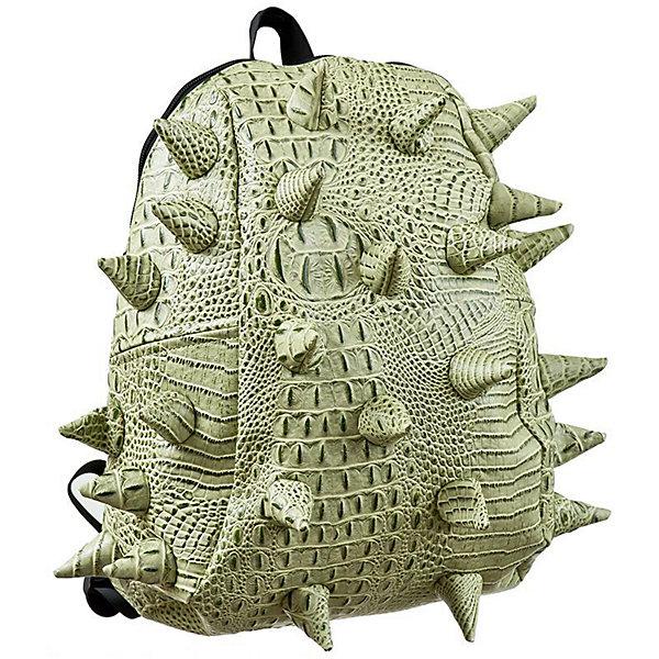 Рюкзак Gator Half, цвет Snap Dragon (зеленый)Рюкзаки<br>Характеристики товара:<br><br>• цвет: Snap Dragon (зеленый);<br>• возраст: от 3 лет;<br>• вес: 0,6 кг;<br>• размер: 36х30х15 см;<br>• особенности модели: с пузырями;<br>• большое отделение на молнии;<br>• дополнительный карман на задней стенке рюкзака;<br>• мягкие регулируемые лямки;<br>• ортопедическая спинка с вентиляцией;<br>• два дополнительных боковых кармана на молнии;<br>• материал: поливинил;<br>• страна бренда: США;<br>• страна изготовитель: Китай.<br><br>Удобный рюкзак для детей Madpax «Gator Half» непременно понравится детям. Малый вес рюкзака позволяет ребенку носить с собой все необходимое для учебы, при этом не перегружая позвоночник. Стильный шипованный дизайн с имитацией кожи рептилий выделяют рюкзак Мэдпакс Гатор Халф среди аналогичных моделей. <br><br>Удобное расположение дополнительных кармашков позволяет ребенку с легкостью доставать необходимые ему вещи. Специальная спинка рюкзака Гатор Халф обеспечивает постоянную вентиляцию спины. Мягкие ремни регулируются в зависимости от роста ребенка. Рюкзак «Gator Half» – это стильная и удобная модель, которая предназначена для ежедневного ношения. <br><br>Рюкзак Madpax «Gator Half» можно купить в нашем интернет-магазине.<br><br>Ширина мм: 360<br>Глубина мм: 300<br>Высота мм: 150<br>Вес г: 600<br>Возраст от месяцев: 36<br>Возраст до месяцев: 720<br>Пол: Унисекс<br>Возраст: Детский<br>SKU: 7054087