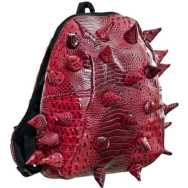 Рюкзак Gator Half, цвет Red Tillion (красный)Рюкзаки<br>Характеристики товара:<br><br>• цвет: Red Tillion (красный);<br>• возраст: от 3 лет;<br>• вес: 0,6 кг;<br>• размер: 36х30х15 см;<br>• особенности модели: с пузырями;<br>• большое отделение на молнии;<br>• дополнительный карман на задней стенке рюкзака;<br>• мягкие регулируемые лямки;<br>• ортопедическая спинка с вентиляцией;<br>• два дополнительных боковых кармана на молнии;<br>• материал: поливинил;<br>• страна бренда: США;<br>• страна изготовитель: Китай.<br><br>Удобный рюкзак для детей Madpax «Gator Half» непременно понравится детям. Малый вес рюкзака позволяет ребенку носить с собой все необходимое для учебы, при этом не перегружая позвоночник. Стильный шипованный дизайн с имитацией кожи рептилий выделяют рюкзак Мэдпакс Гатор Халф среди аналогичных моделей. <br><br>Удобное расположение дополнительных кармашков позволяет ребенку с легкостью доставать необходимые ему вещи. Специальная спинка рюкзака Гатор Халф обеспечивает постоянную вентиляцию спины. Мягкие ремни регулируются в зависимости от роста ребенка. Рюкзак «Gator Half» – это стильная и удобная модель, которая предназначена для ежедневного ношения. <br><br>Рюкзак Madpax «Gator Half» можно купить в нашем интернет-магазине.<br>Ширина мм: 360; Глубина мм: 300; Высота мм: 150; Вес г: 600; Возраст от месяцев: 36; Возраст до месяцев: 720; Пол: Унисекс; Возраст: Детский; SKU: 7054088;