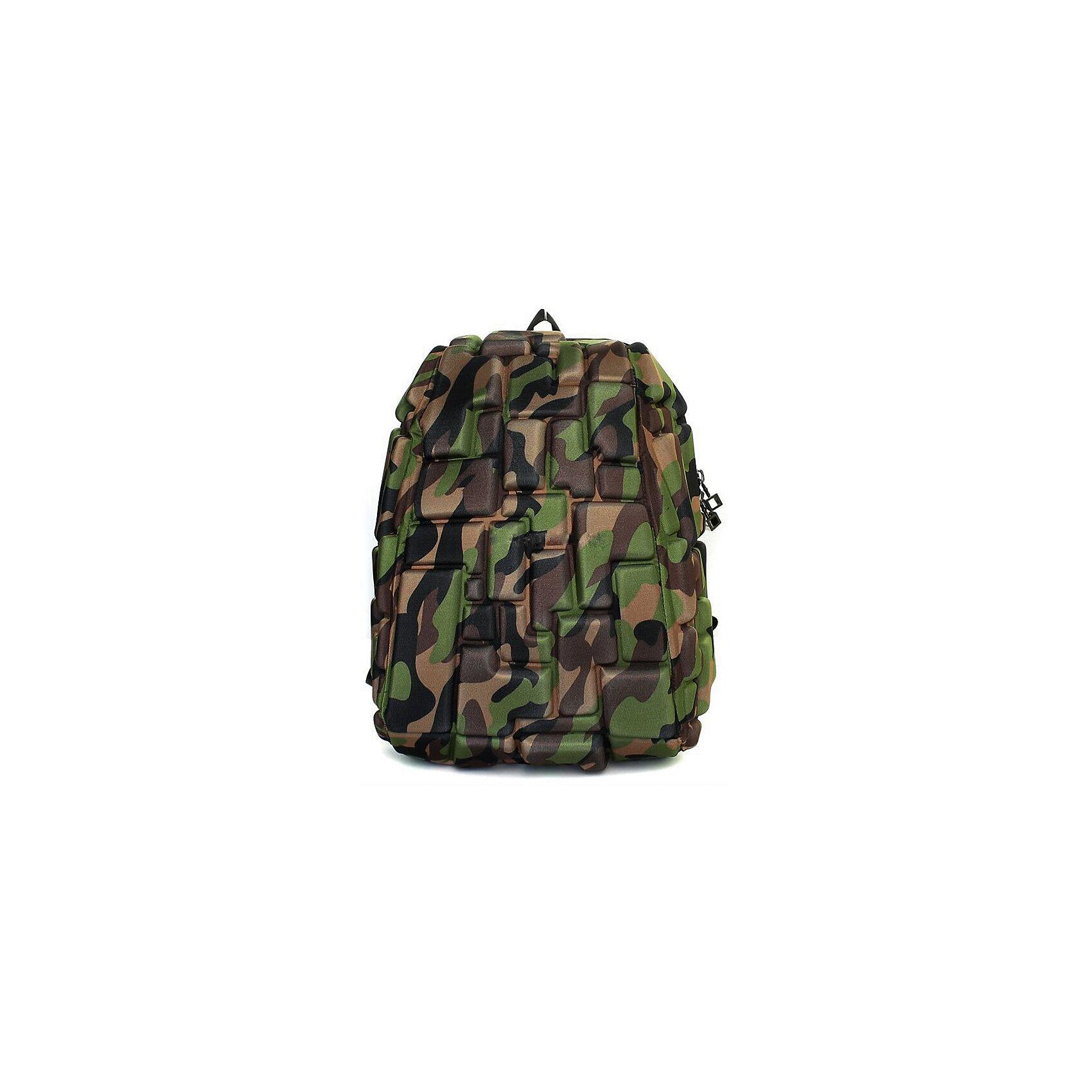 Рюкзак Blok Half, цвет Camo камуфляжРюкзаки<br>Характеристики товара:<br><br>• цвет: Camo камуфляж;<br>• возраст: от 3 лет;<br>• вес: 0,6 кг;<br>• размер: 36х30х15 см;<br>• одно отделение на молнии;<br>• вместительный;<br>• лямки регулируются по высоте;<br>• ортопедическая спинка;<br>• карман - окошко для контактной информации;<br>• материал: полиспандекс;<br>• страна бренда: США;<br>• страна изготовитель: Китай.<br><br>Рюкзаки Madpax отличаются оригинальностью дизайна. Рельефное покрытие рюкзака «Blok Half» напоминает футуристические строительные блоки.<br><br>Он способен вместить практически все вещи владельца, внутри достаточно просторно. Эргономичные ручки дают возможность без лишних усилий переносить тяжелую сумку за спиной. Вентилируемым материал на ортопедической спинке создаст комфорт. Внутри 2 отделения: большое для основных вещей и отделение для папки формата А4 или планшета с диагональю до 13 дюймов. Этот рюкзак придаст индивидуальность его владельцу.<br><br>Рюкзак Madpax «Blok Half» можно купить в нашем интернет-магазине.<br><br>Ширина мм: 360<br>Глубина мм: 300<br>Высота мм: 150<br>Вес г: 600<br>Возраст от месяцев: 36<br>Возраст до месяцев: 720<br>Пол: Унисекс<br>Возраст: Детский<br>SKU: 7054111