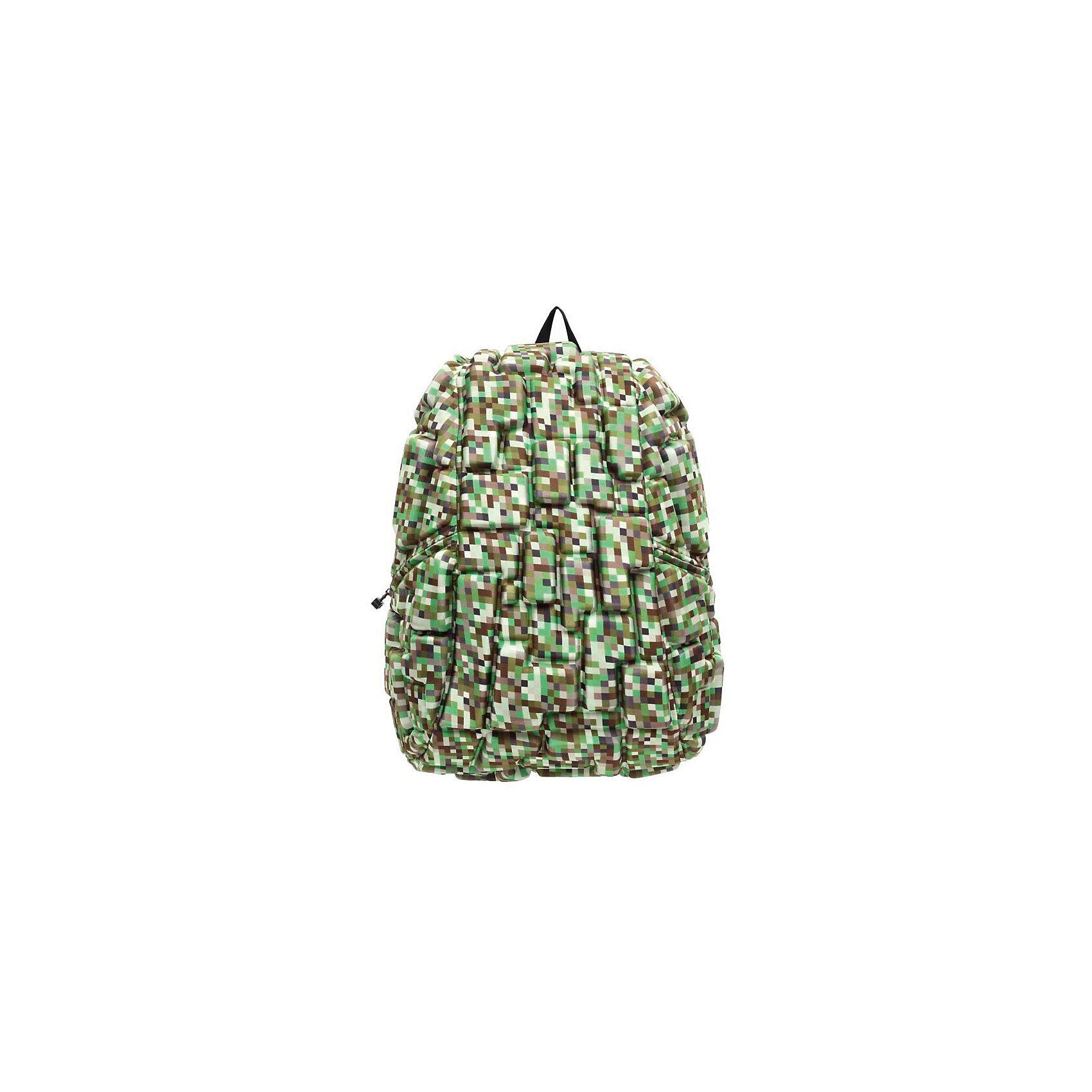Рюкзак Blok Full Digital Green, цвет зеленый мультиРюкзаки<br>Характеристики товара:<br><br>• цвет: Digital Green (зеленый мульти);<br>• возраст: от 5 лет;<br>• вес: 0,8 кг;<br>• размер: 46х36х20 см;<br>• одно отделение на молнии;<br>• вместительный;<br>• лямки регулируются по высоте;<br>• ортопедическая спинка;<br>• карман - окошко для контактной информации;<br>• материал: полиспандекс;<br>• страна бренда: США;<br>• страна изготовитель: Китай.<br><br>Рюкзак Madpax не перепутаешь ни с каким другим рюкзаком! Его уникальность в неповторимом дизайне. Рельефное покрытие рюкзака «Blok Full» напоминает футуристические строительные блоки.<br><br>Просторный внутри, он способен вместить практически все вещи владельца. Наличие эргономичных ручек дает возможность без лишних усилий переносить тяжелую сумку за спиной. Лямки оснащены фиксатором в области груди. Ортопедическая спинка с вентилируемым материалом создаст комфорт. Внутри 2 отделения: большое для основных вещей и отделение для ноутбука или планшета с диагональю до 17 дюймов. По бокам - два дополнительных кармана на молнии для мелочей.<br><br>Рюкзак Madpax «Blok Full» можно купить в нашем интернет-магазине.<br><br>Ширина мм: 460<br>Глубина мм: 360<br>Высота мм: 200<br>Вес г: 800<br>Возраст от месяцев: 60<br>Возраст до месяцев: 720<br>Пол: Унисекс<br>Возраст: Детский<br>SKU: 7054112