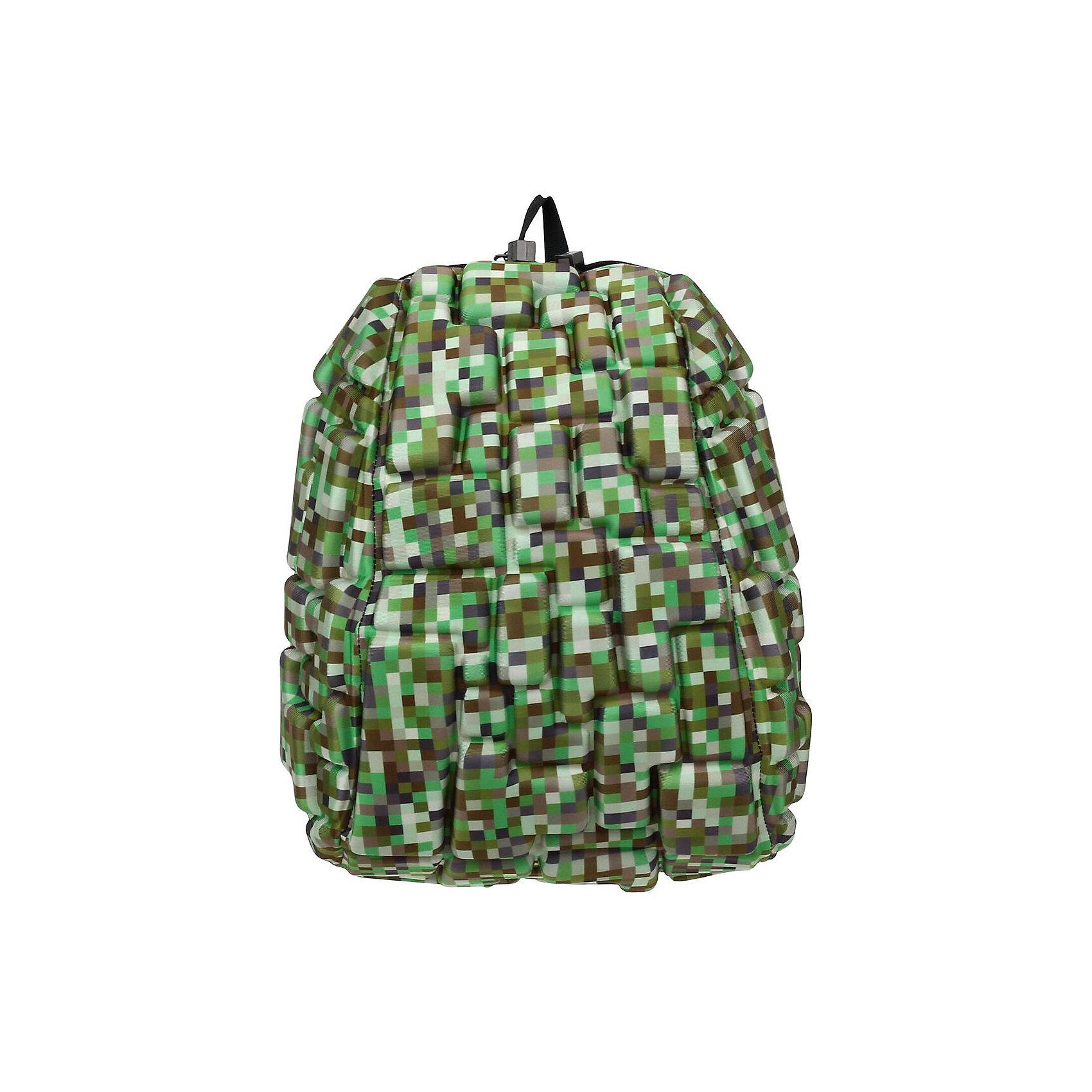 Рюкзак Blok Half Digital Green, цвет зеленый мультиРюкзаки<br>Характеристики товара:<br><br>• цвет: Digital Green (зеленый мульти);<br>• возраст: от 3 лет;<br>• вес: 0,6 кг;<br>• размер: 36х30х15 см;<br>• одно отделение на молнии;<br>• вместительный;<br>• лямки регулируются по высоте;<br>• ортопедическая спинка;<br>• карман - окошко для контактной информации;<br>• материал: полиспандекс;<br>• страна бренда: США;<br>• страна изготовитель: Китай.<br><br>Рюкзаки Madpax отличаются оригинальностью дизайна. Рельефное покрытие рюкзака «Blok Half» напоминает футуристические строительные блоки.<br><br>Он способен вместить практически все вещи владельца, внутри достаточно просторно. Эргономичные ручки дают возможность без лишних усилий переносить тяжелую сумку за спиной. Вентилируемым материал на ортопедической спинке создаст комфорт. Внутри 2 отделения: большое для основных вещей и отделение для папки формата А4 или планшета с диагональю до 13 дюймов. Этот рюкзак придаст индивидуальность его владельцу.<br><br>Рюкзак Madpax «Blok Half» можно купить в нашем интернет-магазине.<br><br>Ширина мм: 360<br>Глубина мм: 300<br>Высота мм: 150<br>Вес г: 600<br>Возраст от месяцев: 36<br>Возраст до месяцев: 720<br>Пол: Унисекс<br>Возраст: Детский<br>SKU: 7054113