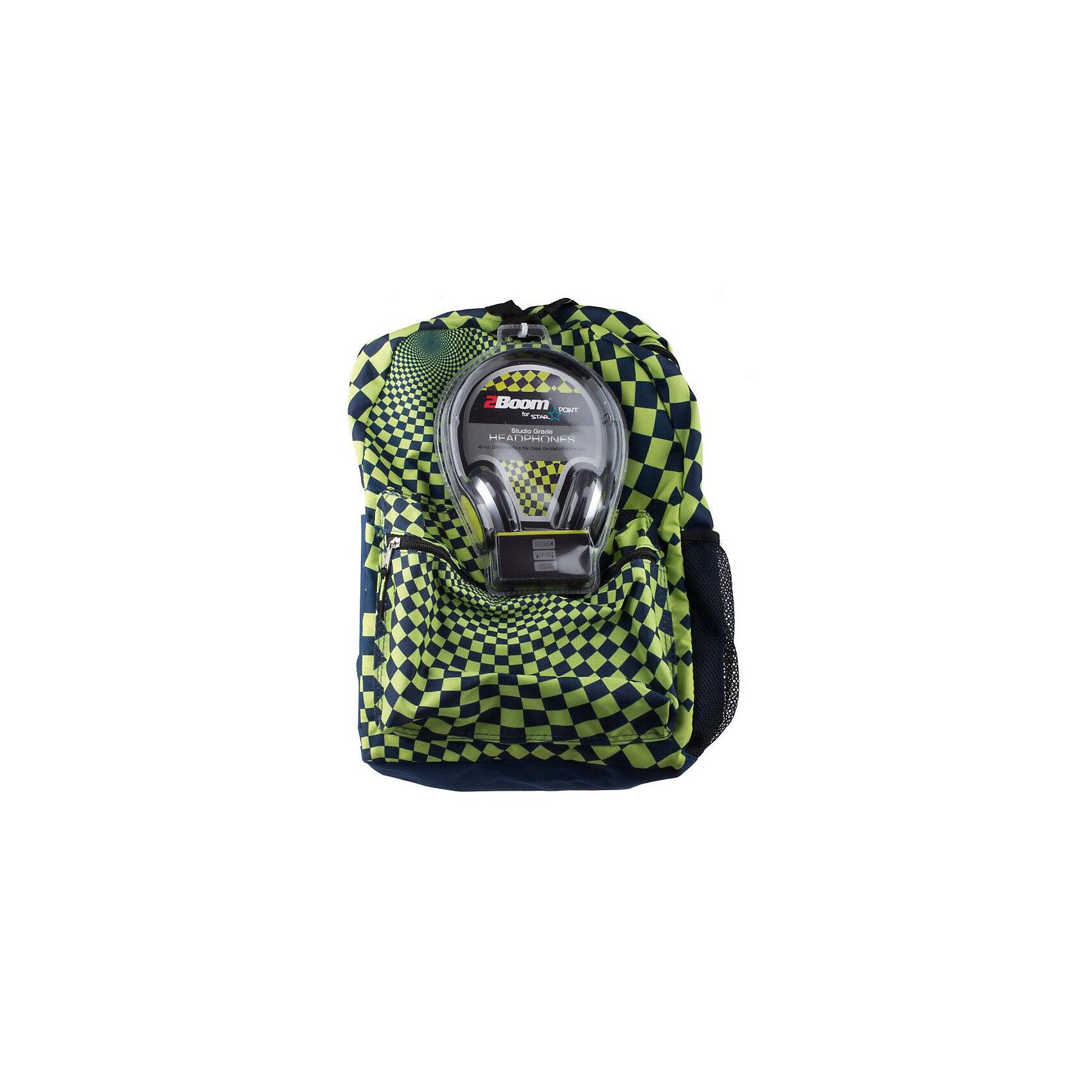 Рюкзак Hypnocheck Lime с наушниками, цвет синий/лаймРюкзаки<br>Характеристики товара:<br><br>• цвет: синий/лайм;<br>• возраст: от 10 лет;<br>• вес: 0,5 кг;<br>• размер: 43х33х16 см;<br>• в комплекте наушники в цвет рюкзака;<br>• выполнен из водоотталкивающей ткани;<br>• вместительный внутренний отсек;<br>• внутри два отделения;<br>• накладной карман на молнии;<br>• уплотненная спинка, дно и ремни;<br>• прочная текстильная ручка;<br>• подвесная система регулировки лямок;<br>• материал: полиэстер;<br>• страна бренда: США;<br>• страна изготовитель: Китай.<br><br>Прочный рюкзак с вместительным отделением станет надежным хранилищем для самых разнообразных вещей. <br><br>Изделие имеет прочную петлю для ношения в руках. Также предусмотрены широкие регулируемые лямки, которые предотвратят натирание кожи и позволят оптимально распределить нагрузку на позвоночник. Дополнительно предусмотрено переднее отделение и боковой сетчатый карман для размещения различных мелочей, к которым необходим быстрый доступ.<br><br>Рюкзак Mojo Pax «Hypnocheck Lime» с наушниками можно купить в нашем интернет-магазине.<br><br>Ширина мм: 430<br>Глубина мм: 330<br>Высота мм: 160<br>Вес г: 500<br>Возраст от месяцев: 120<br>Возраст до месяцев: 720<br>Пол: Унисекс<br>Возраст: Детский<br>SKU: 7054137