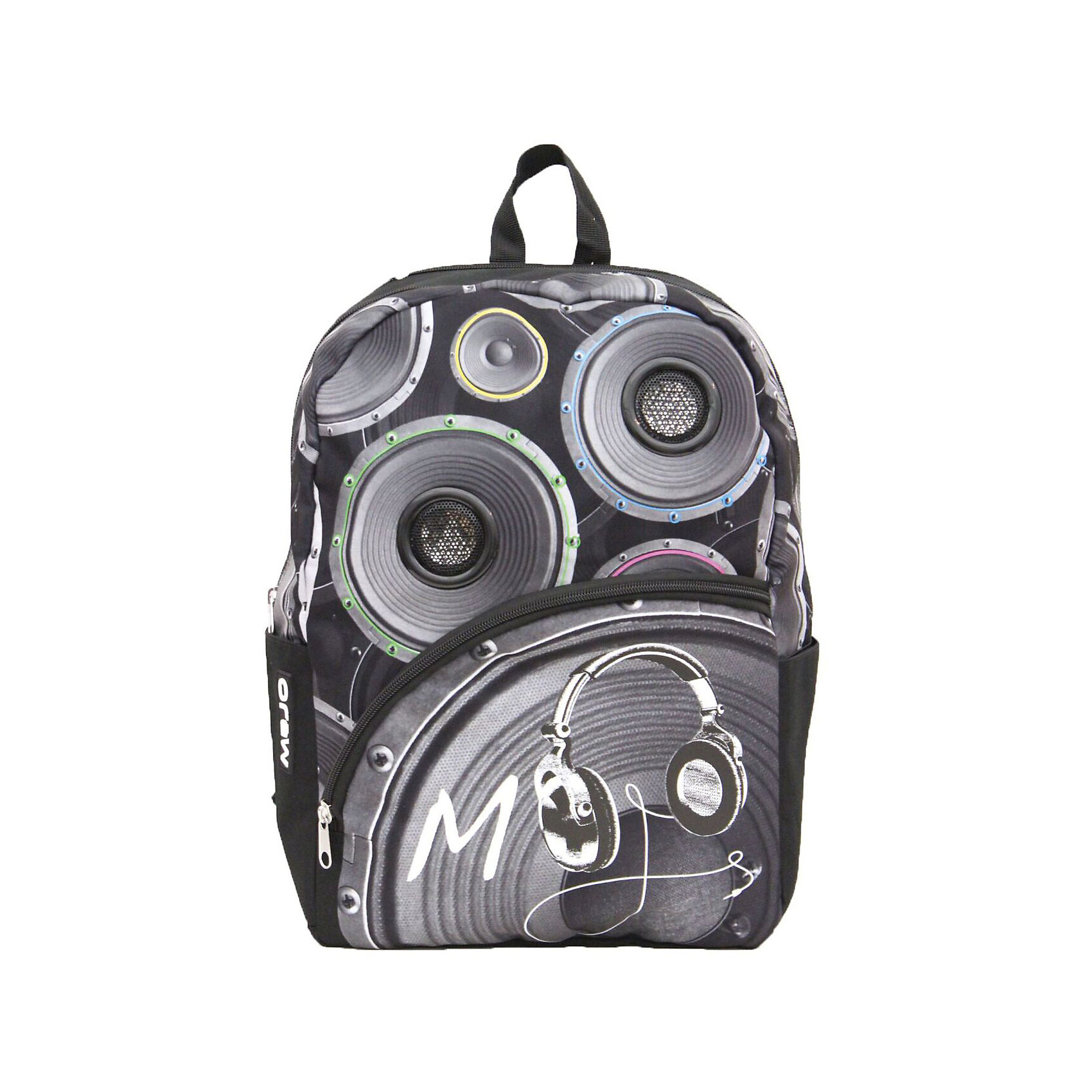 Рюкзак со стерео колонками для iPhone/iPod/mp3Рюкзаки<br>Характеристики товара:<br><br>• цвет: черный с принтом;<br>• возраст: от 10 лет;<br>• вес: 0,5 кг;<br>• размер: 43х30х16 см;<br>• в комплекте встроенные стереоколонки с усилителями;<br>• светится в УФ и темноте;<br>• внутри мягкое отделение для планшета или ноутбука;<br>• впереди большой карман на молнии;<br>• два боковых кармана;<br>• плотная спинка и усиленное дно;<br>• мягкие регулируемые лямки;<br>• материал: полиэстер;<br>• страна бренда: США;<br>• страна изготовитель: Китай.<br><br>Благодаря люминесцентной краске в покрытии, обладатель этого рюкзака будет выделятся и не останется незамеченным.<br>Изображение наушников и динамиков на переднем кармане ярко фосфоресцирует в темноте, привлекая внимание окружающих.<br><br>В комплекте встроенные стереоколонки с усилителями. Колонки работают от 4 батареек типа АА, разьем 3.5` (старндартный).<br><br>Имеется полноразмерное основное отделение с органайзером, внешний отсек среднего размера, и два боковых кармана.<br><br>Рюкзак со стерео колонками для iPhone/iPod/mp3 «Masta Blasta with SPEAKER» можно купить в нашем интернет-магазине.<br><br>Ширина мм: 430<br>Глубина мм: 300<br>Высота мм: 160<br>Вес г: 500<br>Возраст от месяцев: 120<br>Возраст до месяцев: 720<br>Пол: Унисекс<br>Возраст: Детский<br>SKU: 7054139