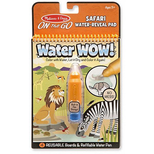 Водная раскраска Сафари, Melissa &amp; DougВодные раскраски<br>Характеристики товара:<br><br>• возраст: от 3 лет;<br>• размер: 25х15х3 см;<br>• комплект: блокнот с 4 картинками, наполняемый водой фломастер;<br>• материал: картон, пластик;<br>• упаковка: блистер;<br>• страна обладатель бренда: США.<br><br>Этот блокнот-раскраска водой включает в себя четыре многоразовые страниц и многоразовую ручку с  водой. <br><br>Просто наполни стержень ручки водой, проведи ею по картинке и цвета начнут проявляться, а картинка оживать! Потом дайте странице высохнуть, цвета исчезнут и можно начинать раскрашивать снова и снова. <br><br>Эта книга с изображением животных включает в себя четыре различные сцены для раскрашивания. Водяная ручка сделана такого размера, чтобы удобно было ребенку держать ее в руках. <br><br>Раскраску Рисуем водой : Сафари можно купить в нашем интернет-магазине.<br><br>Ширина мм: 30<br>Глубина мм: 150<br>Высота мм: 250<br>Вес г: 1814<br>Возраст от месяцев: 36<br>Возраст до месяцев: 2147483647<br>Пол: Унисекс<br>Возраст: Детский<br>SKU: 7054915